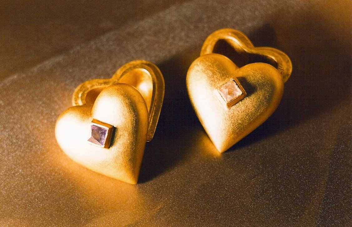 Coffin & King - Gilded Heart Ring Boxes, crystals, cast stone, 23 kt. gold leaf, 1990s