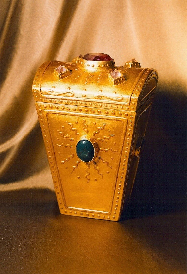 Coffin & King - Large Gilded Treasure Box with Faceted Crystal Finial, crystals, semi-precious stones, wood, 23 kt. gold leaf, 1990s