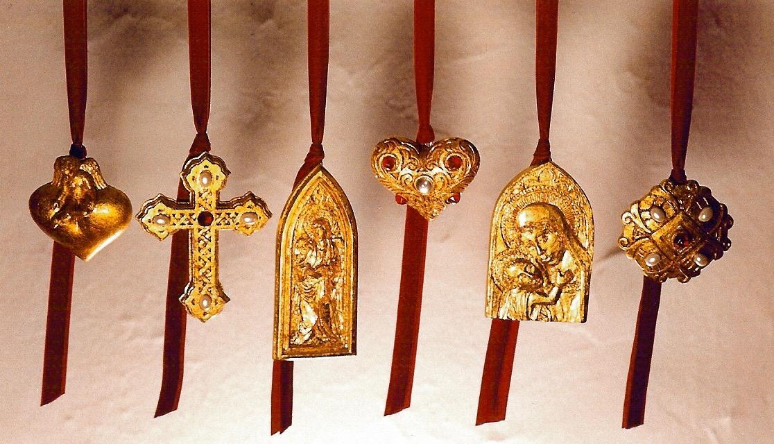 Coffin & King - Renaissance Ornaments, cast stone, faux gems and pearls, composite metal leaf, 1990s