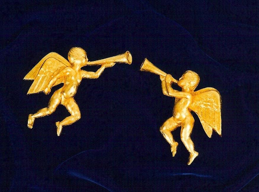Coffin & King - Angel Ornaments - cast stone, composite metal leaf, 1990s