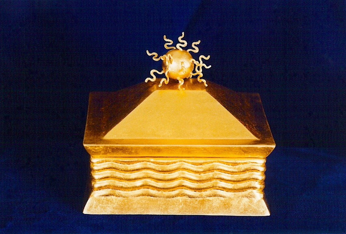 Coffin & King - Gilded Sun Head Box, cast stone, wire sculpture, 23 kt. gold leaf, 1990s