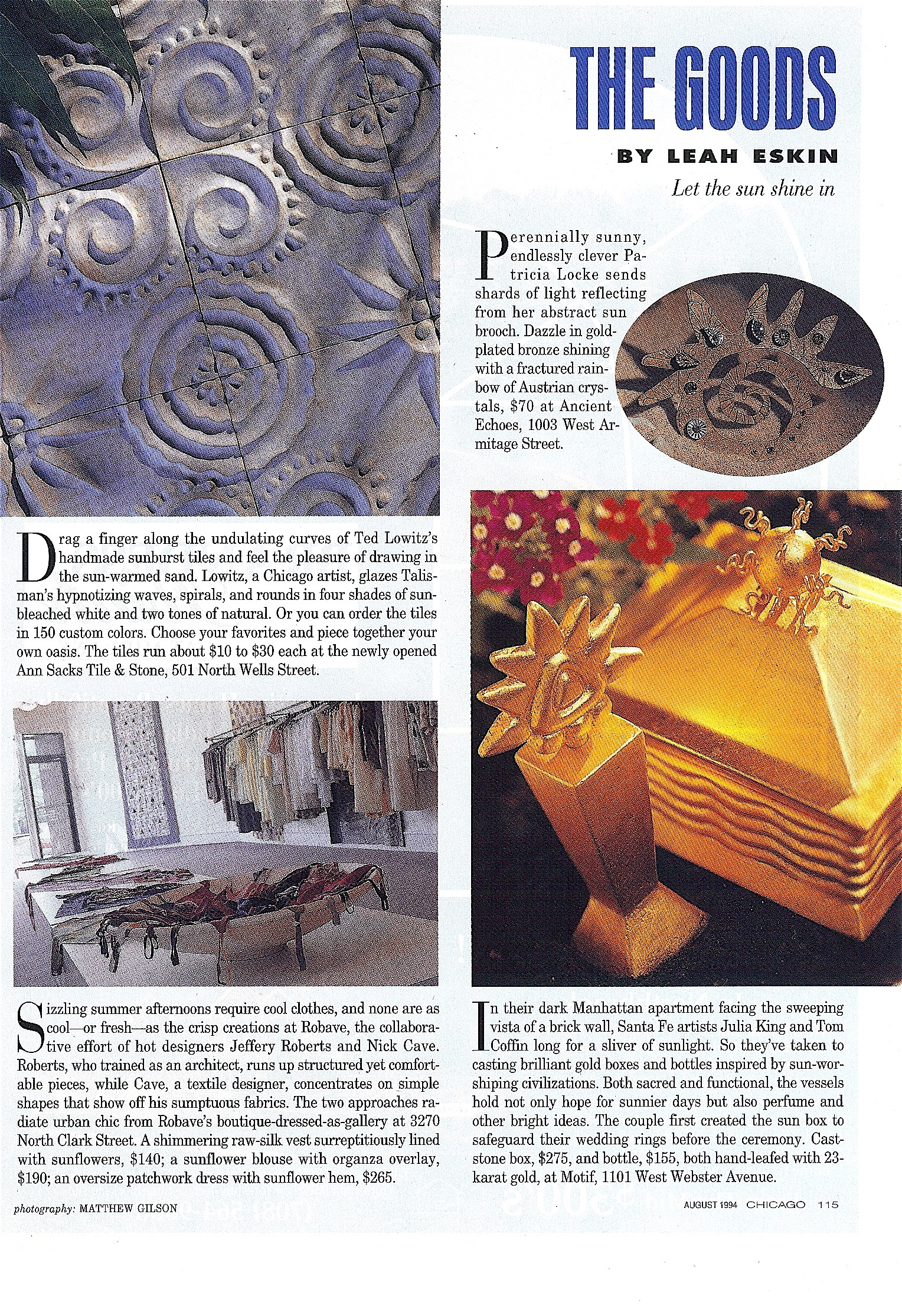 Coffin & King Press - Coffin & King Gilded Sun Head Box and Golden Idol perfume bottle featured in Chicago Magazine