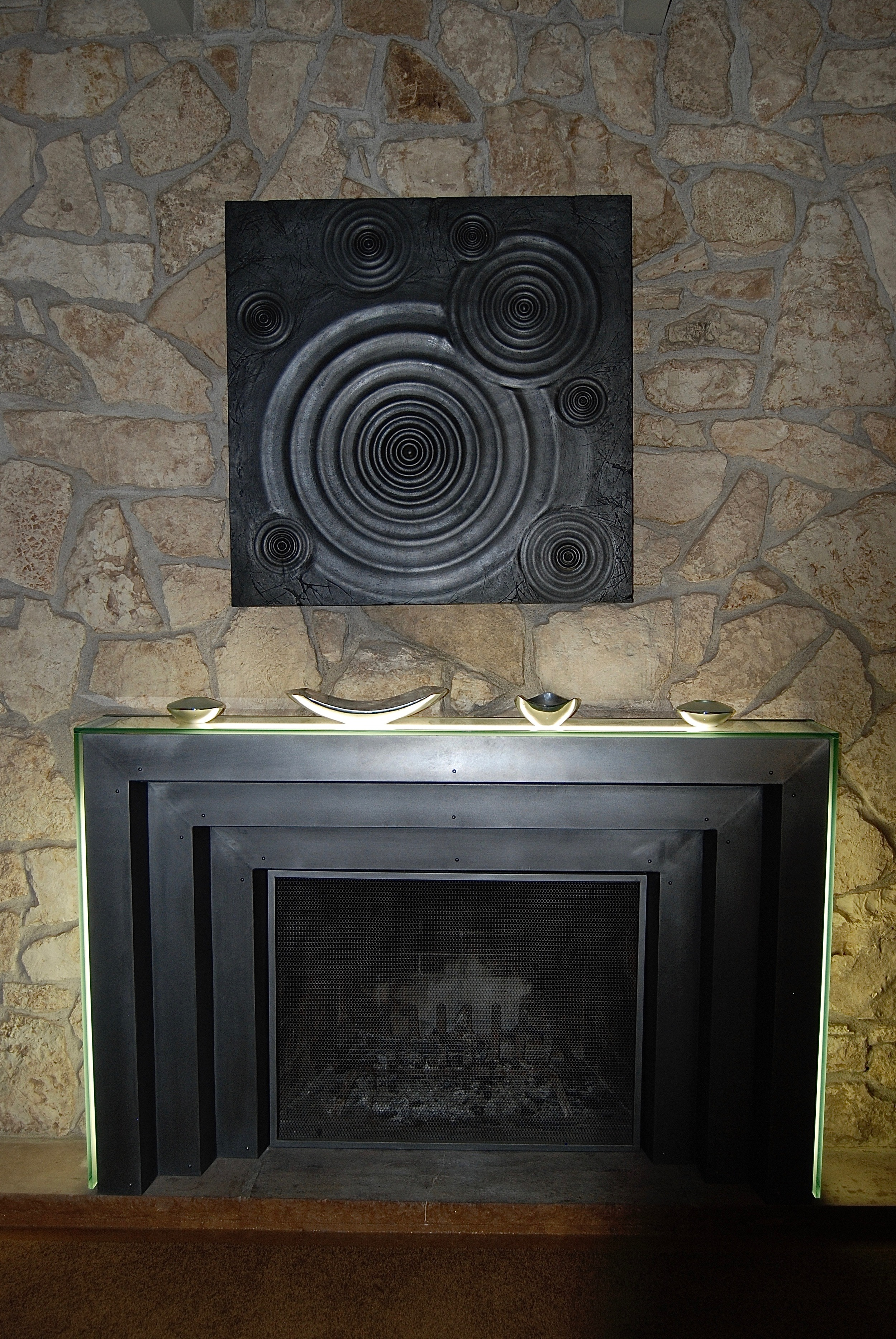 Coffin & King Custom Furniture/ Interiors - Brushed Steel Lighted Fireplace Mantel