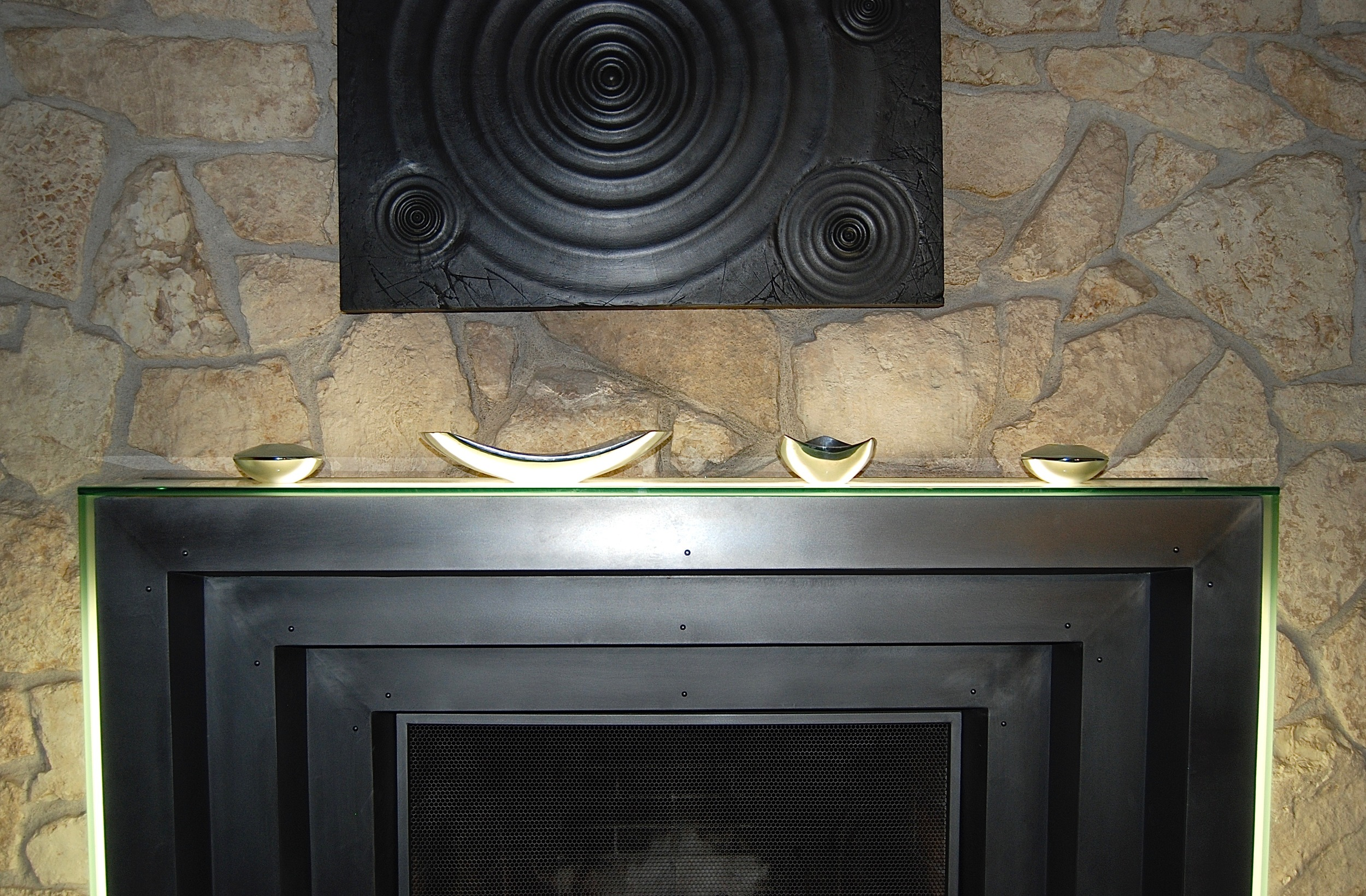 Coffin & King Custom Furniture/ Interiors - Brushed Steel Lighted Fireplace Mantel (detail)