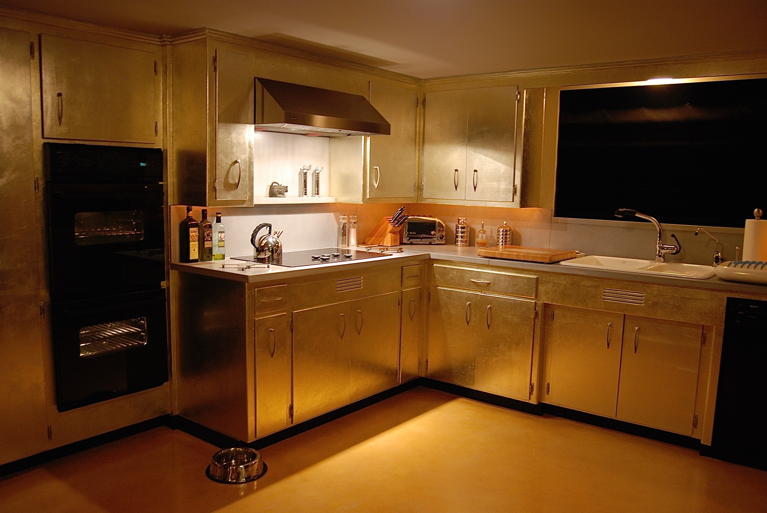 Coffin & King Custom Furniture/ Interiors - Aluminum Leafed Original '50s Kitchen Cabinets, Cast Concrete Countertops, Cast Concrete Backsplash