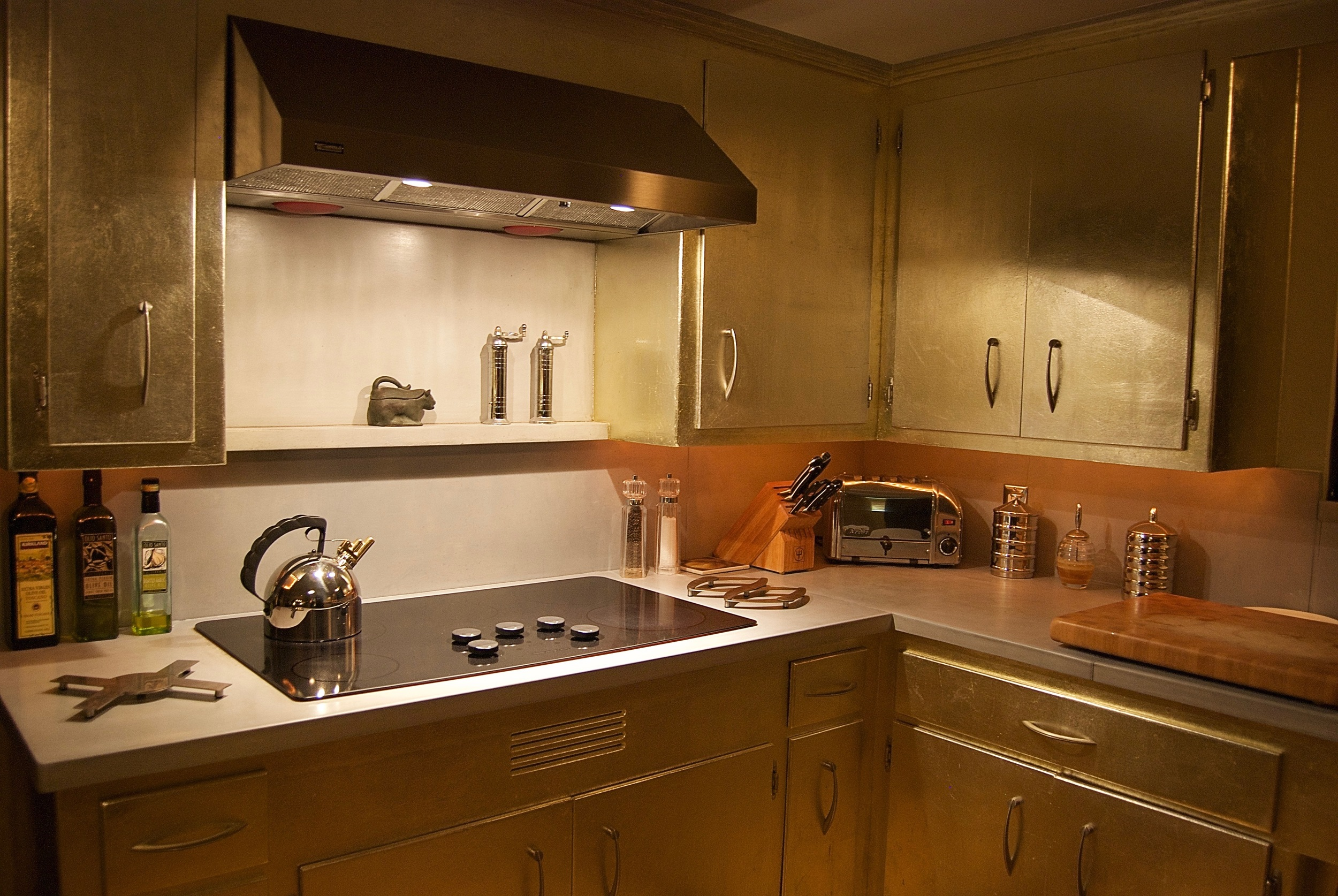 Coffin & King Custom Furniture/ Interiors - Aluminum Leafed Original '50s Cabinets, Cast Concrete Countertops, Cast Concrete Backsplash