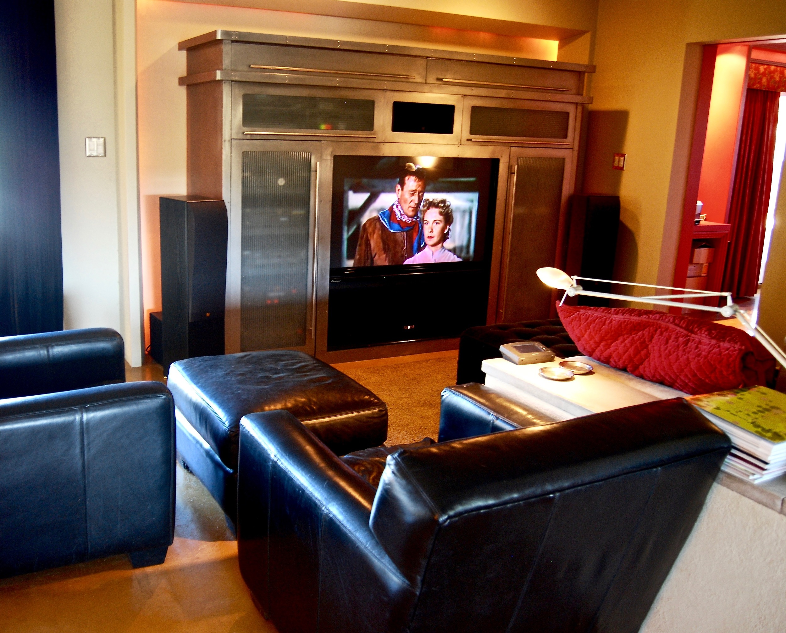 Coffin & King Custom Furniture/ Interiors - Brushed Steel Custom Entertainment Cabinet