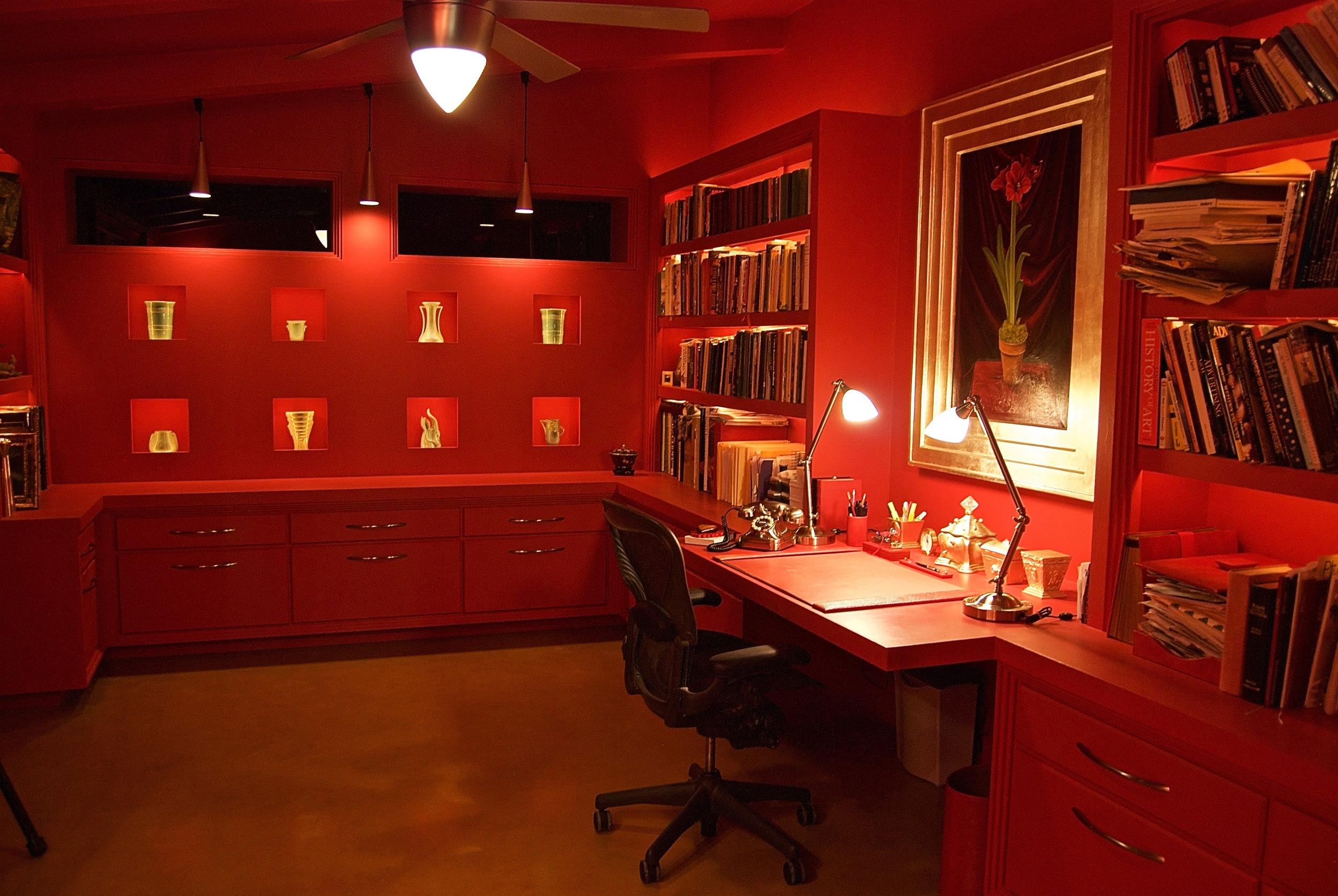 Coffin & King Custom Furniture/ Interiors - Custom Designed Red Office