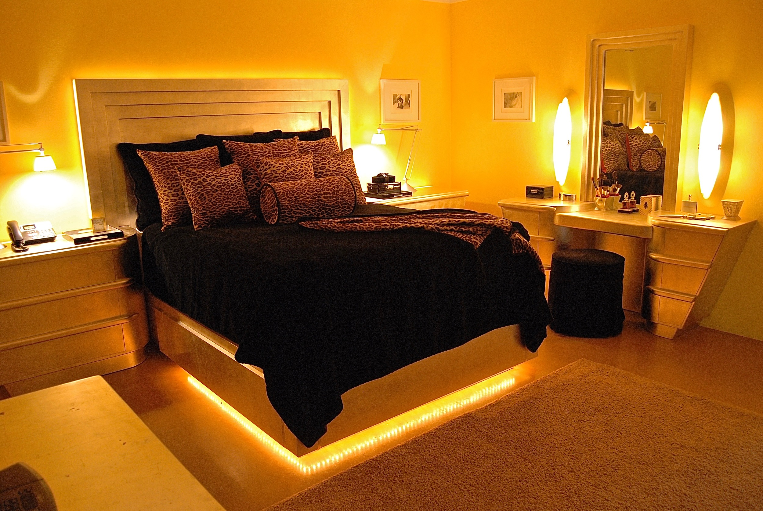 Coffin & King Custom Furniture/ Interiors - Winged Bed, Dream Vanity, 14 Kt. White Gold Leaf