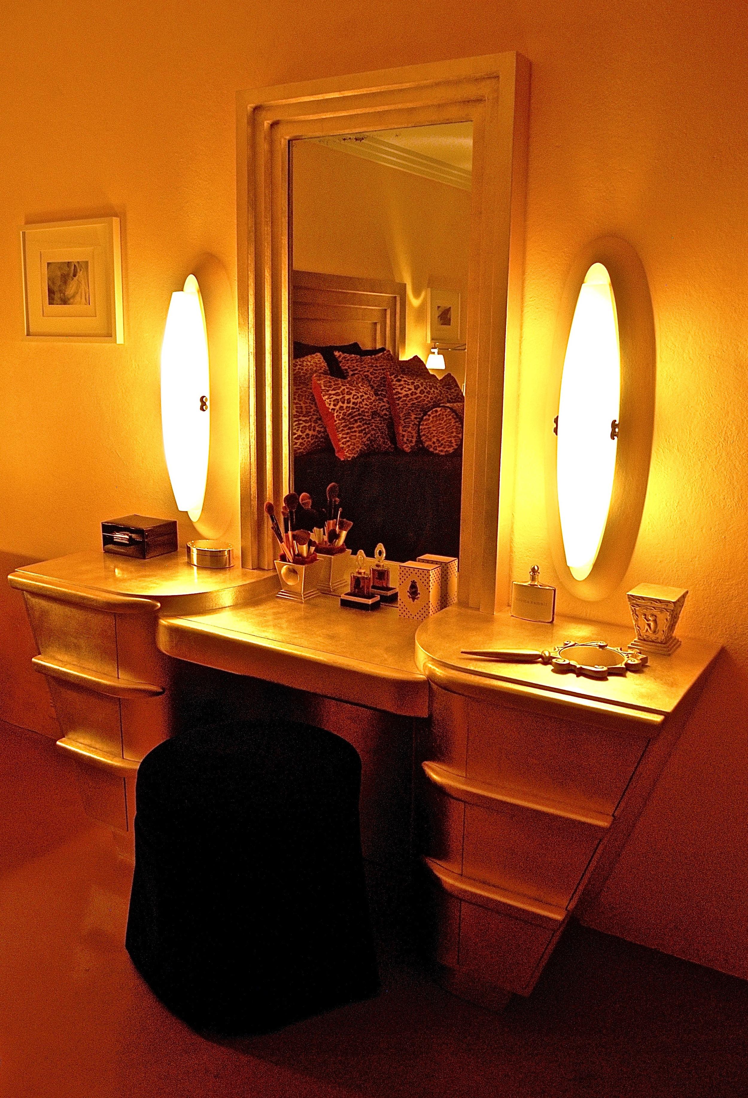 Coffin & King Custom Furniture/ Interiors - Dream Vanity, 14 Kt. White Gold Leaf