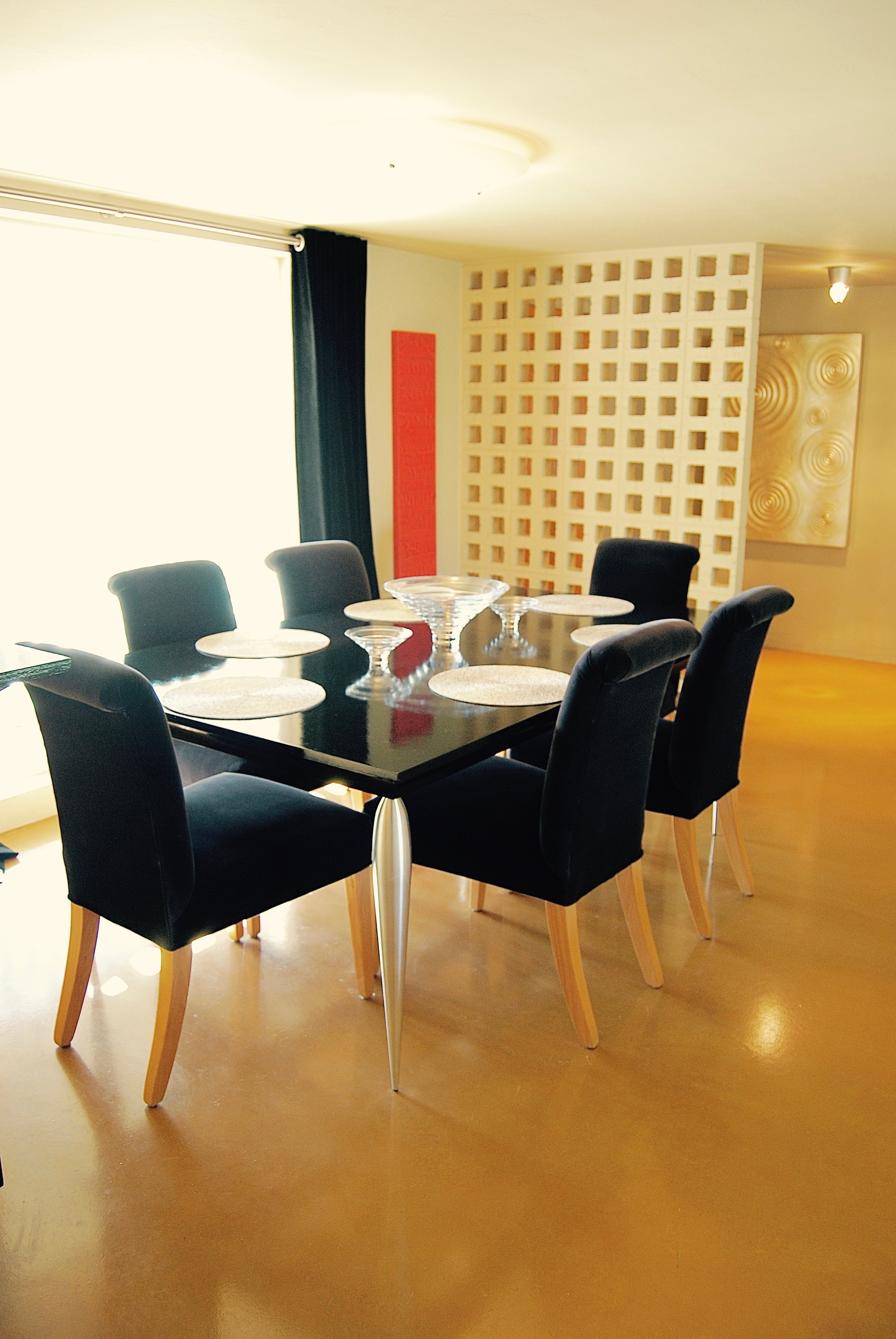 Coffin & King Custom Furniture/ Interiors - Dining Table with Milled Aluminum Legs, Hand Rubbed Oil Paint