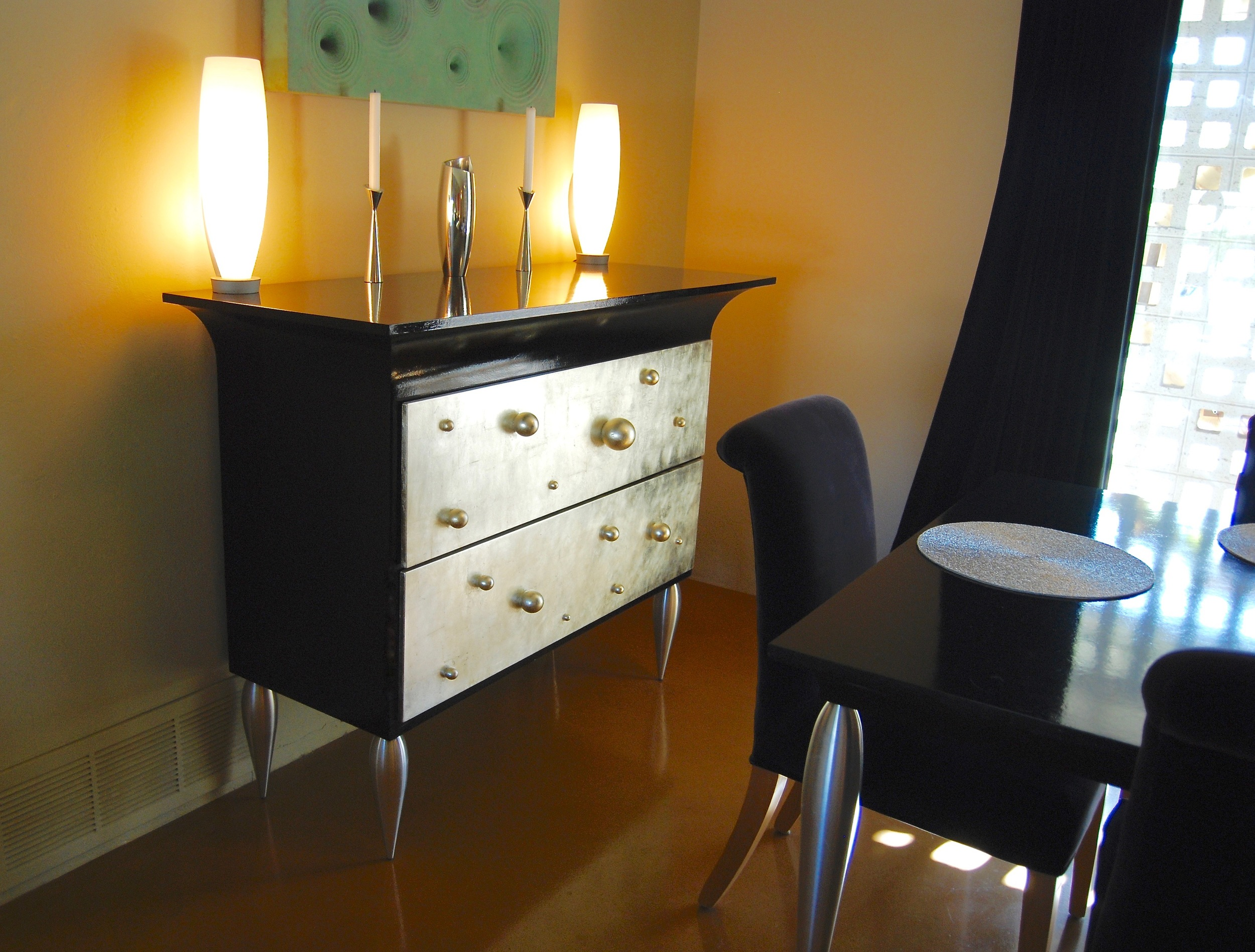 Coffin & King Custom Furniture/ Interiors - Chest with Ball Handles, Milled Aluminum Legs, Hand Rubbed Oil Paint, 14 Kt. White Gold Leaf