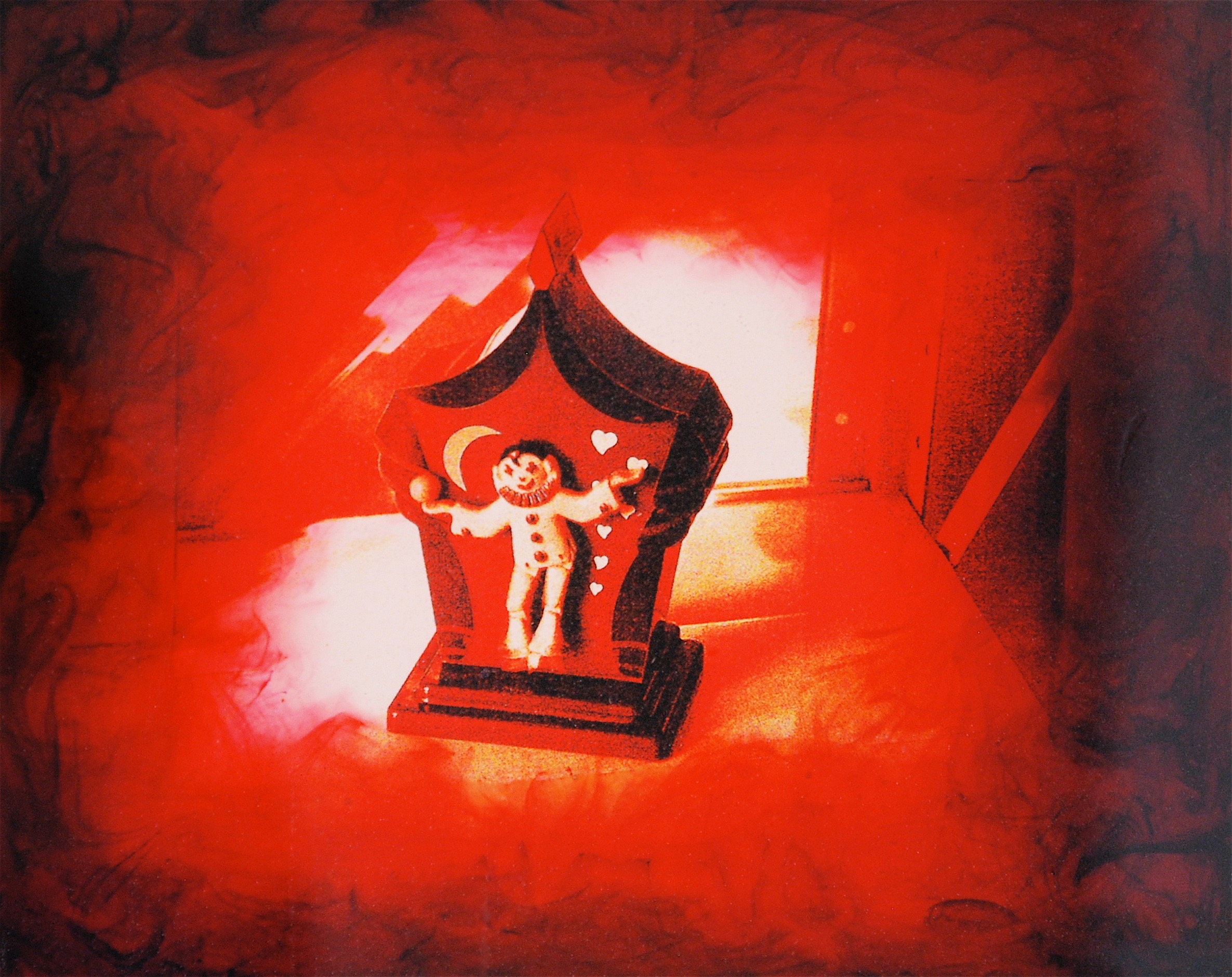 """Julia King - Red Clown (detail), 10""""h x 11 1/2""""w x 1 3/4""""d, photography based 3-d mixed media, resin, pigment, handmade wood frame"""