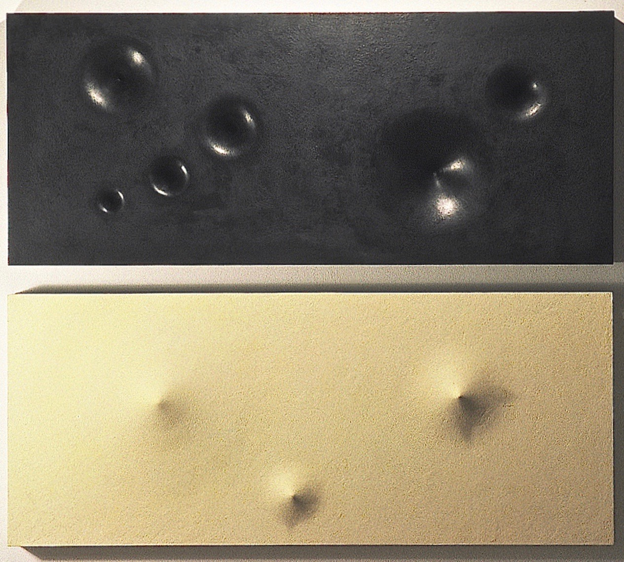 "Thomas Coffin - Vortex (white/black diptych), 20""h x 40""w x 3""d (each panel), mixed media sculptural wall relief"