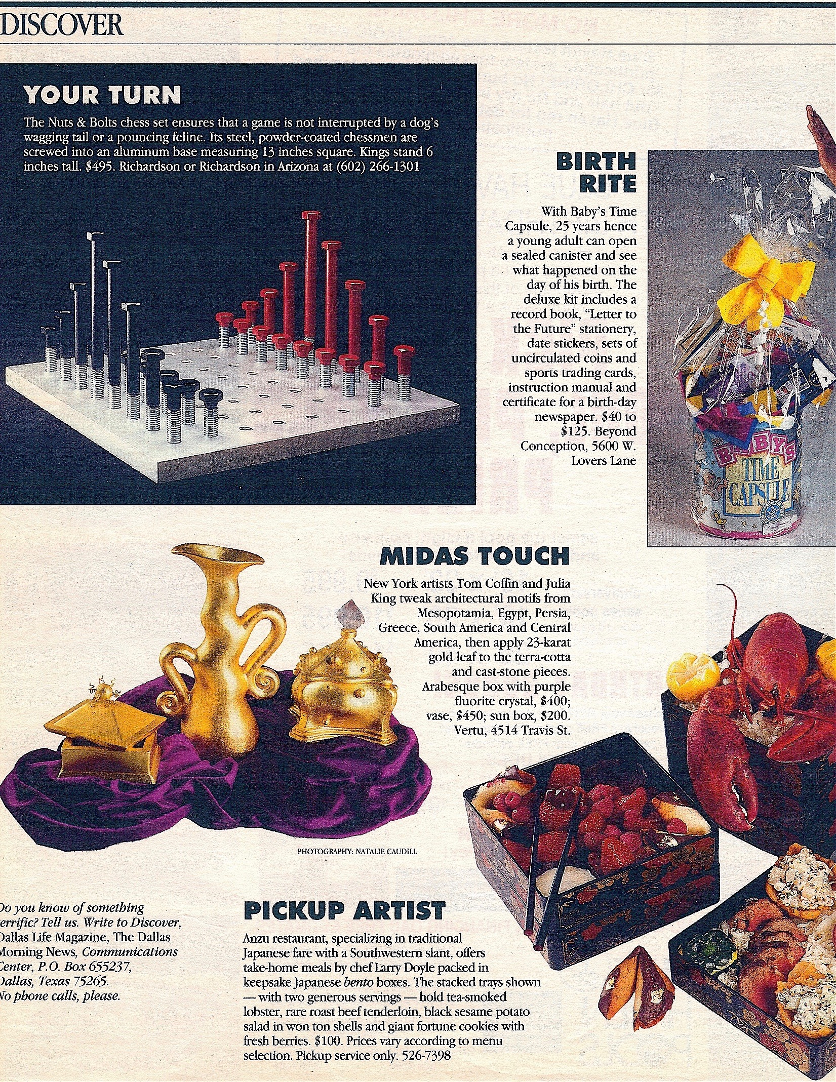 Coffin & King Press - Coffin & King Gilded Sun Head Box, Gilded Vase, and Gilded Box with Balls featured in Dallas Life Magazine