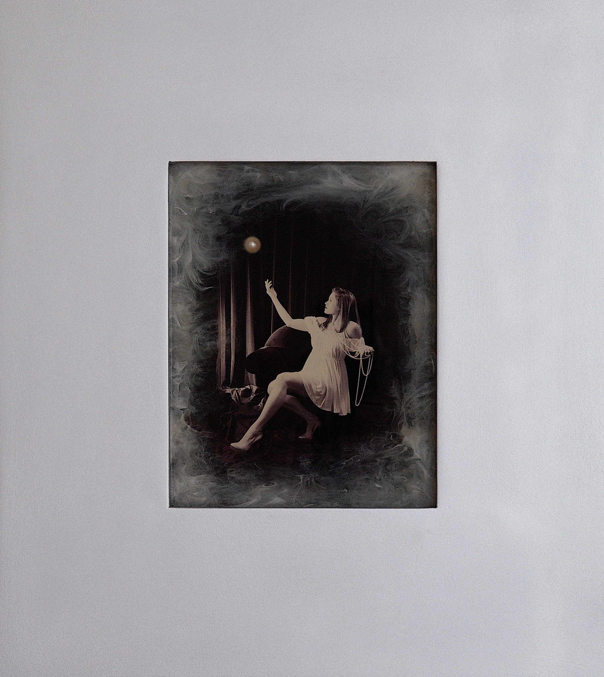 Julia King - Margarite and the Pearl #1 - with handmade matte silver wood frame