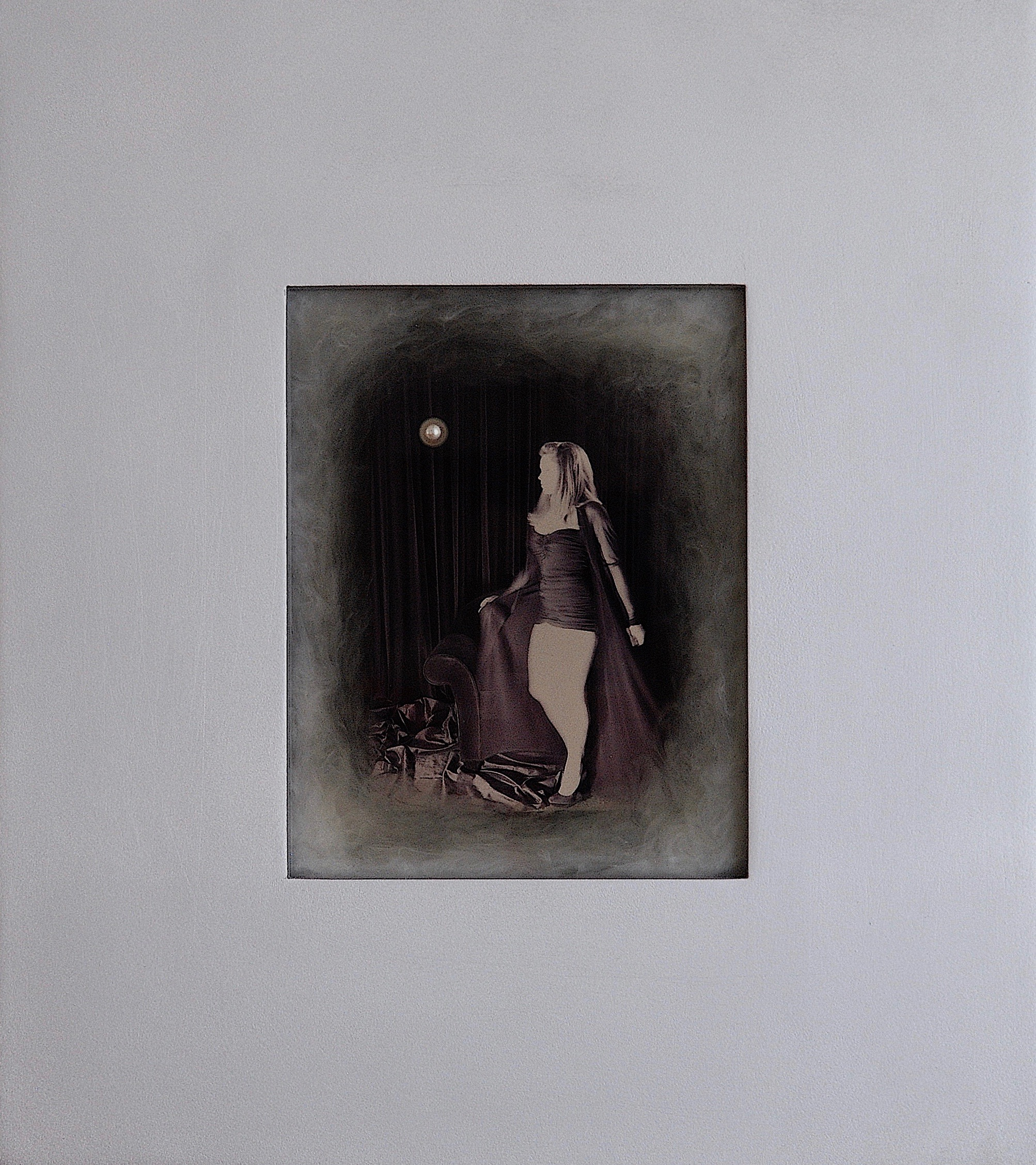Julia King - Margarite and the Pearl #9 - with handmade matte silver wood frame