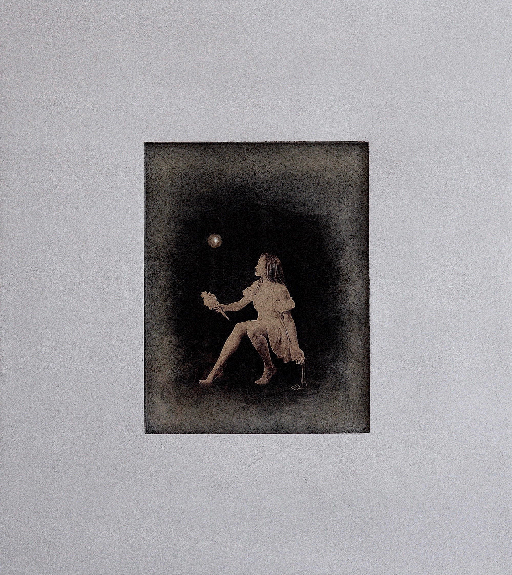 Julia King - Margarite and the Pearl #5 - with handmade matte silver wood frame