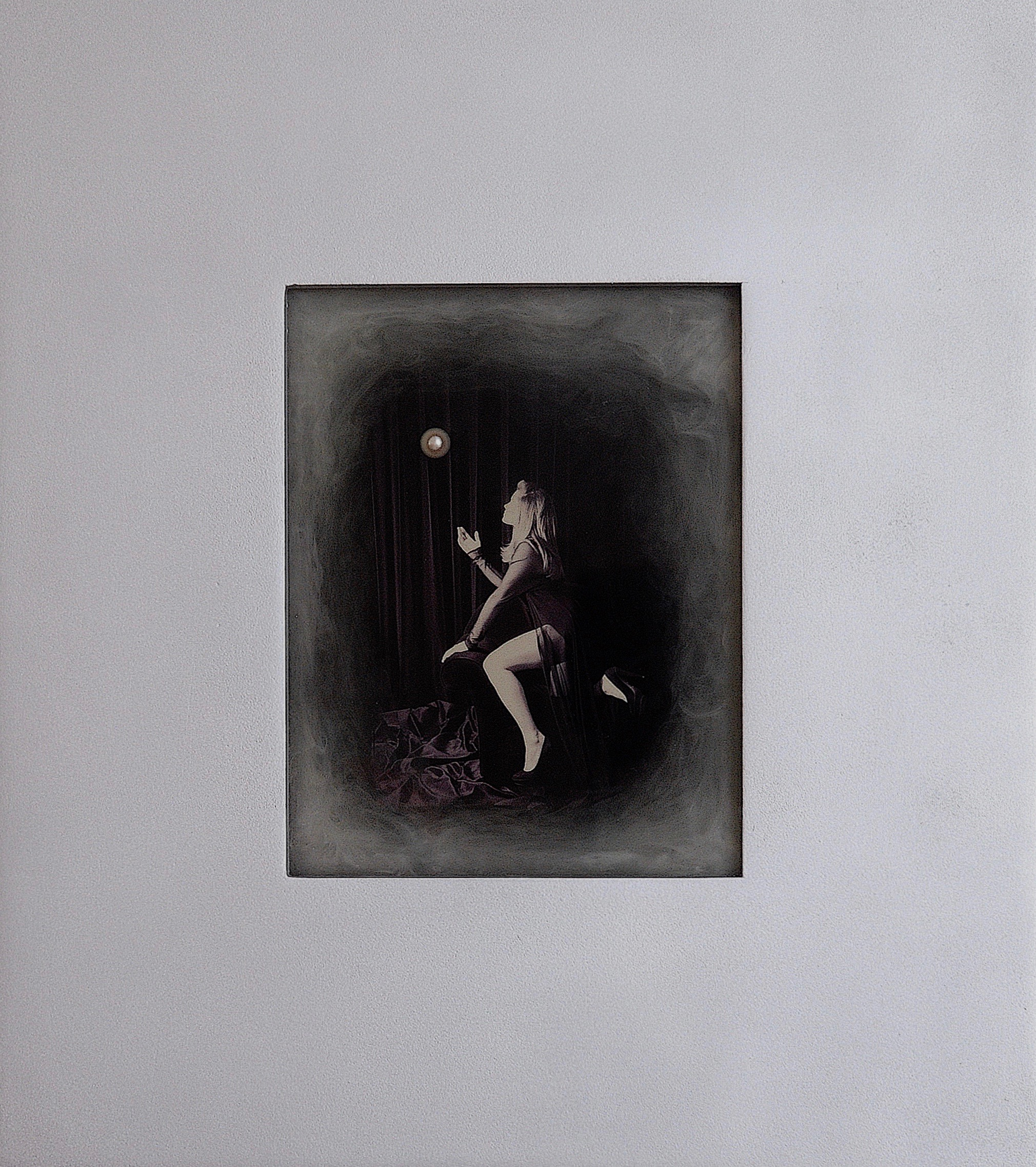 Julia King - Margarite and the Pearl #3 - with handmade matte silver wood frame