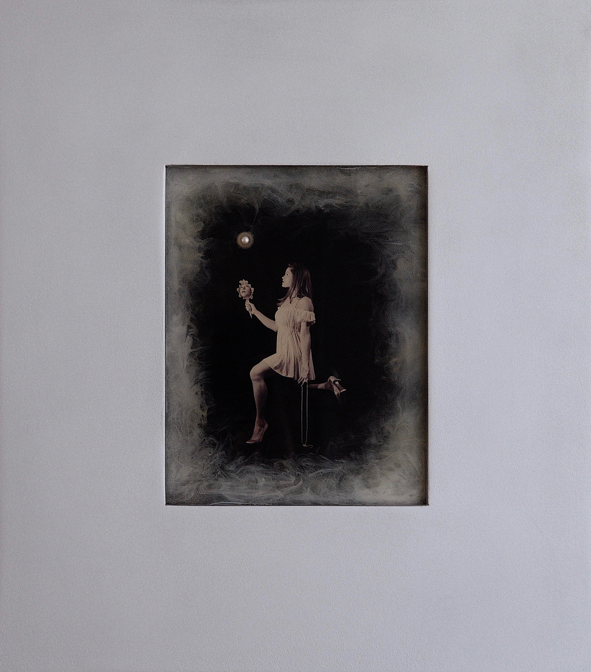 Julia King - Margarite and the Pearl #2 - with handmade matte silver wood frame