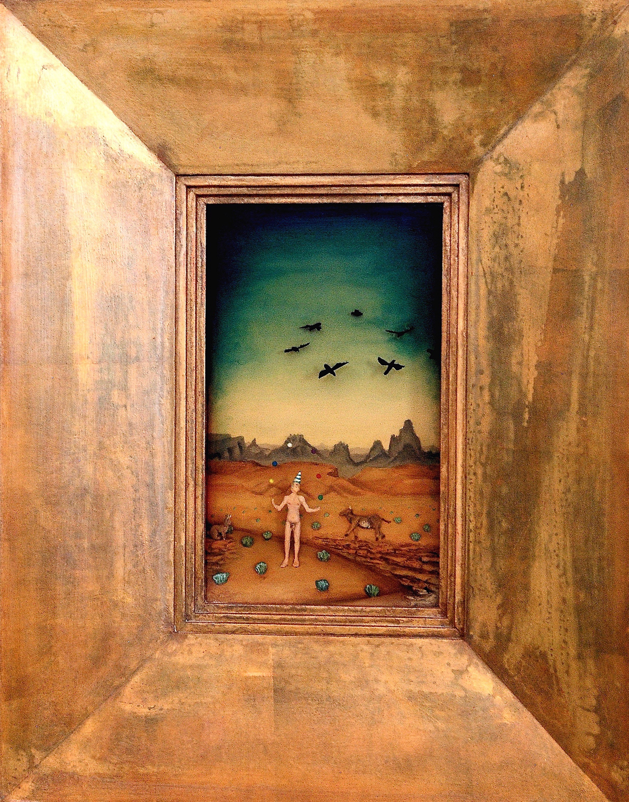 """Thomas Coffin - The Quick and the Dead, 12""""h x 7""""w x 2""""d, mixed media 3-d diorama encased in acrylic resin, handmade wood frame, copper leaf"""