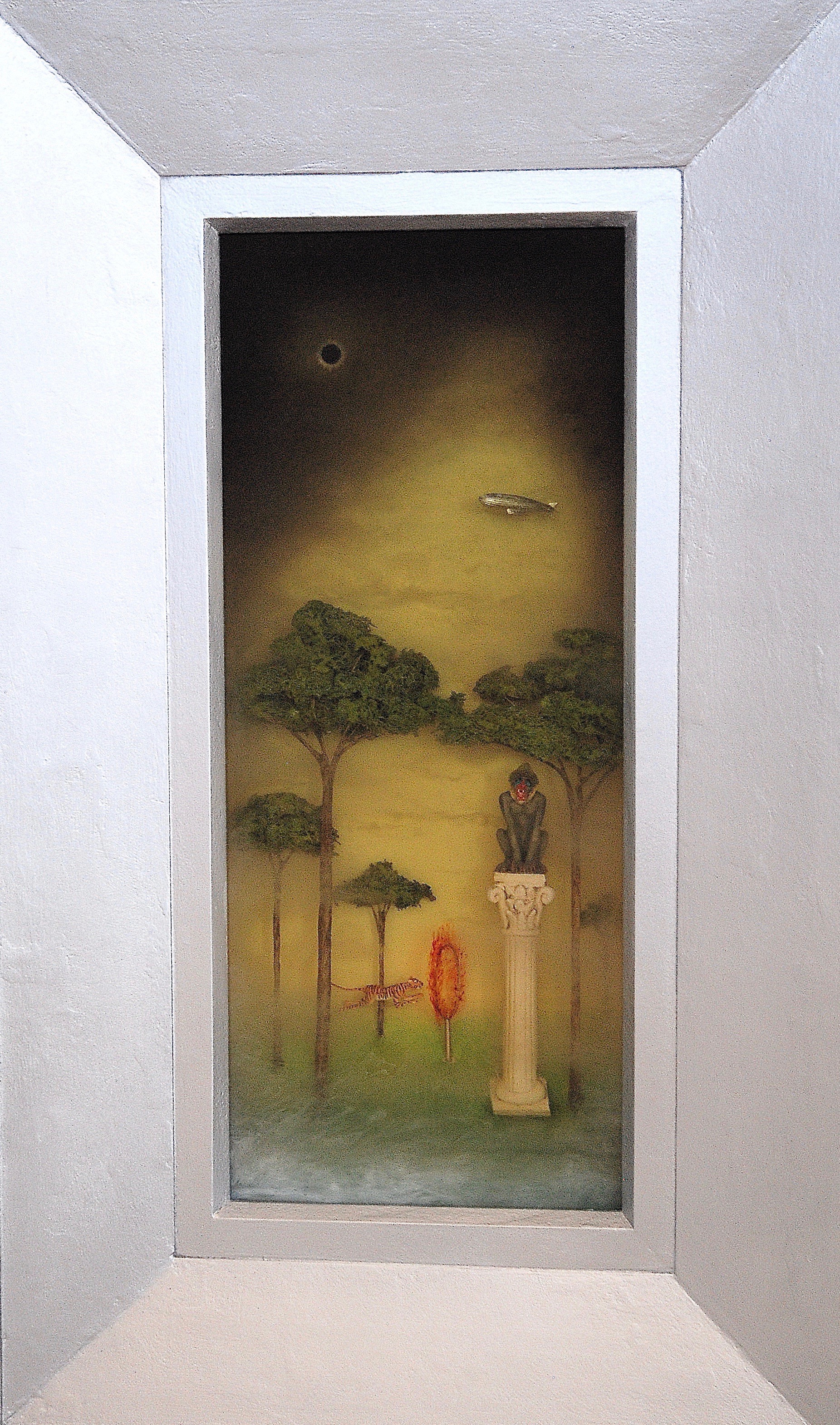 """Thomas Coffin - Mandrill Eclipse, 19 1/2""""h x 9 1/2""""w x 2""""d, mixed media 3-d diorama encased in acrylic resin, handmade wood frame"""