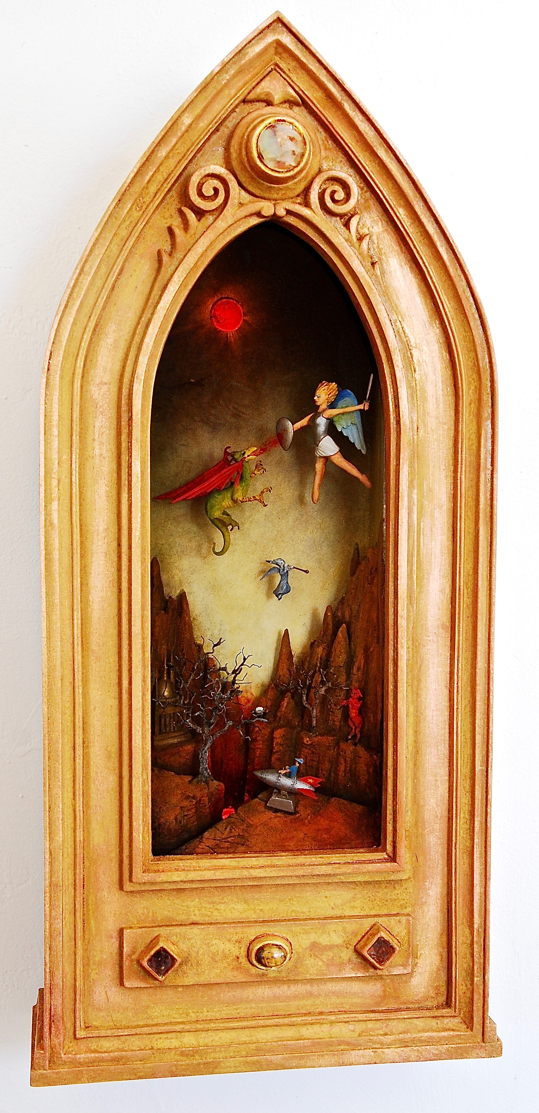 """Thomas Coffin - Little Johnny's Rocket Ride, 18""""h x 10""""w x 4 1/2""""d, mixed media 3-d diorama encased in acrylic resin, handmade wood frame, copper leaf"""