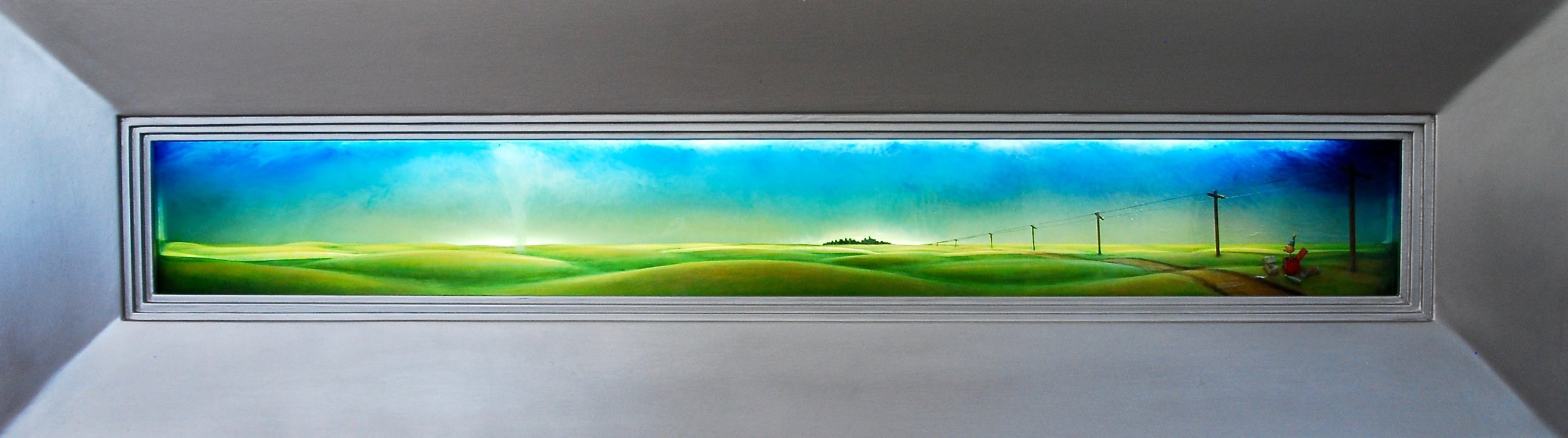 """Thomas Coffin - Lies The Roadside Palm Reader Told Me, 15""""h x 48""""w x 4 1/2"""" d, mixed media 3-d diorama encased in acrylic resin, handmade wood frame, aluminum finish"""