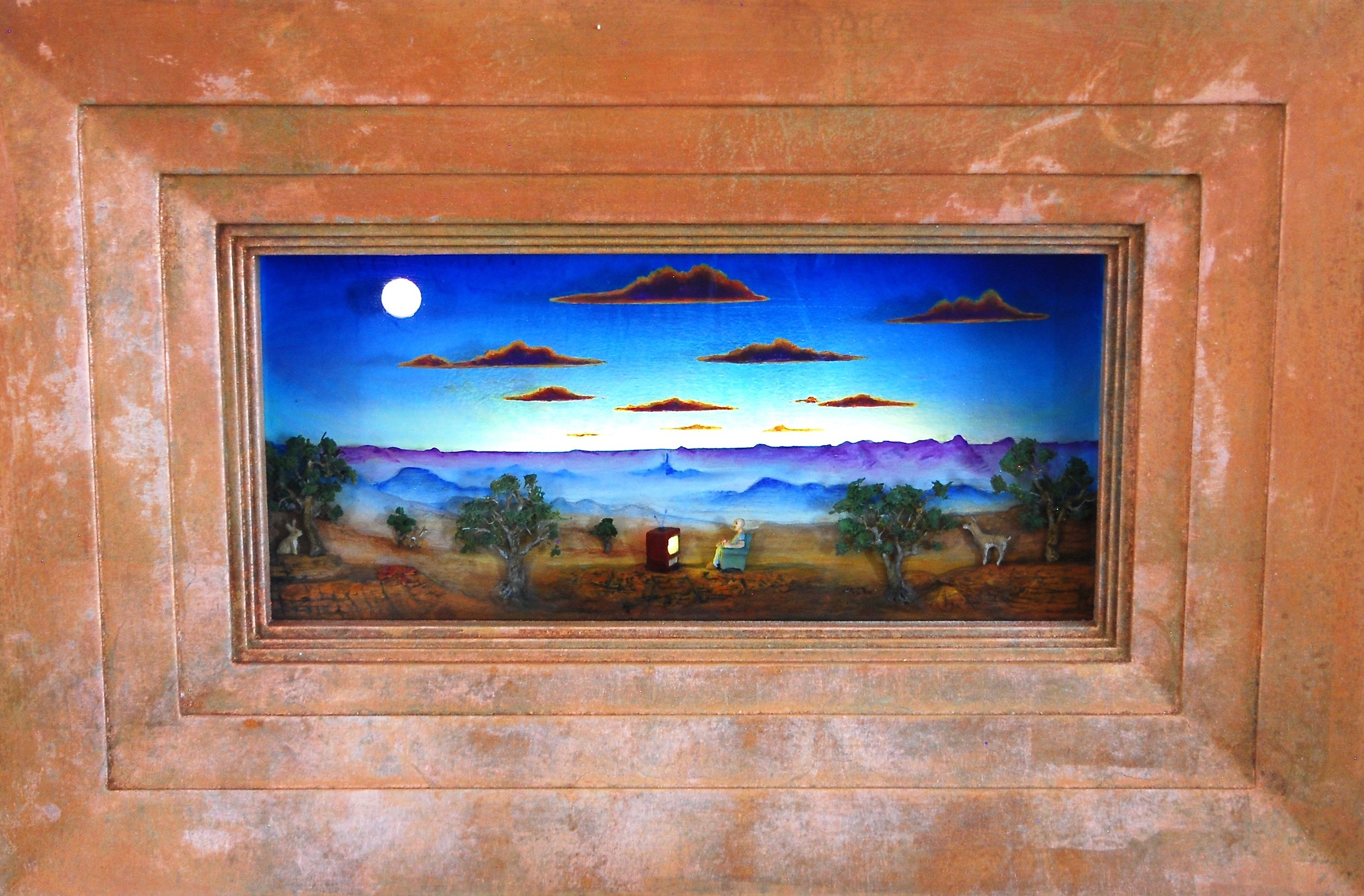 """Thomas Coffin - Lots Of Good Shows Tonight, 15""""h x 22""""w x 4 1/2""""d, mixed media 3-d diorama encased in acrylic resin, handmade wood frame, copper leaf"""