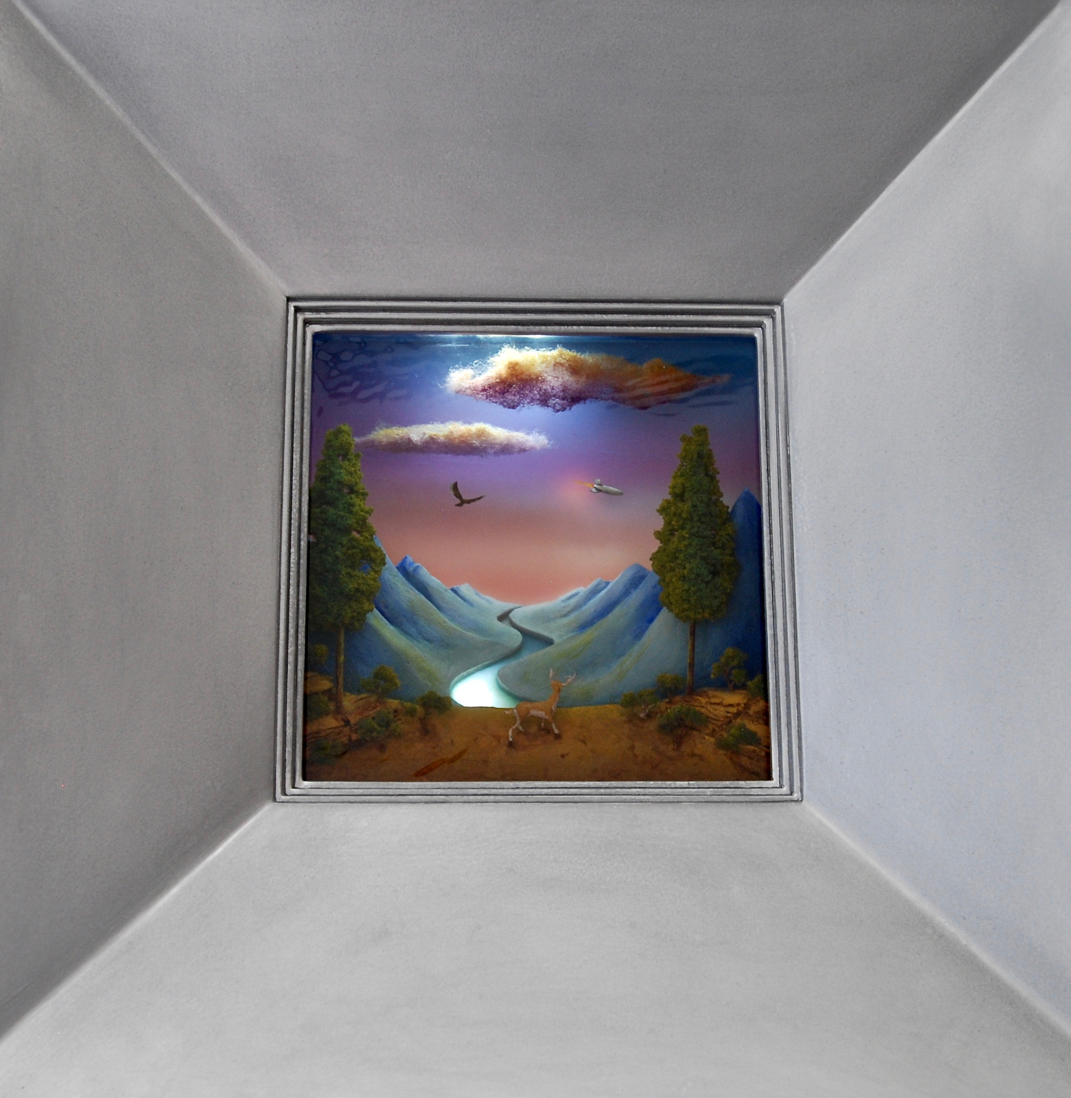 """Thomas Coffin - Vacation in Berchtesgaden, 15""""h x 15""""w x 5 3/4""""d, mixed media 3-d diorama encased in acrylic resin, wood frame"""