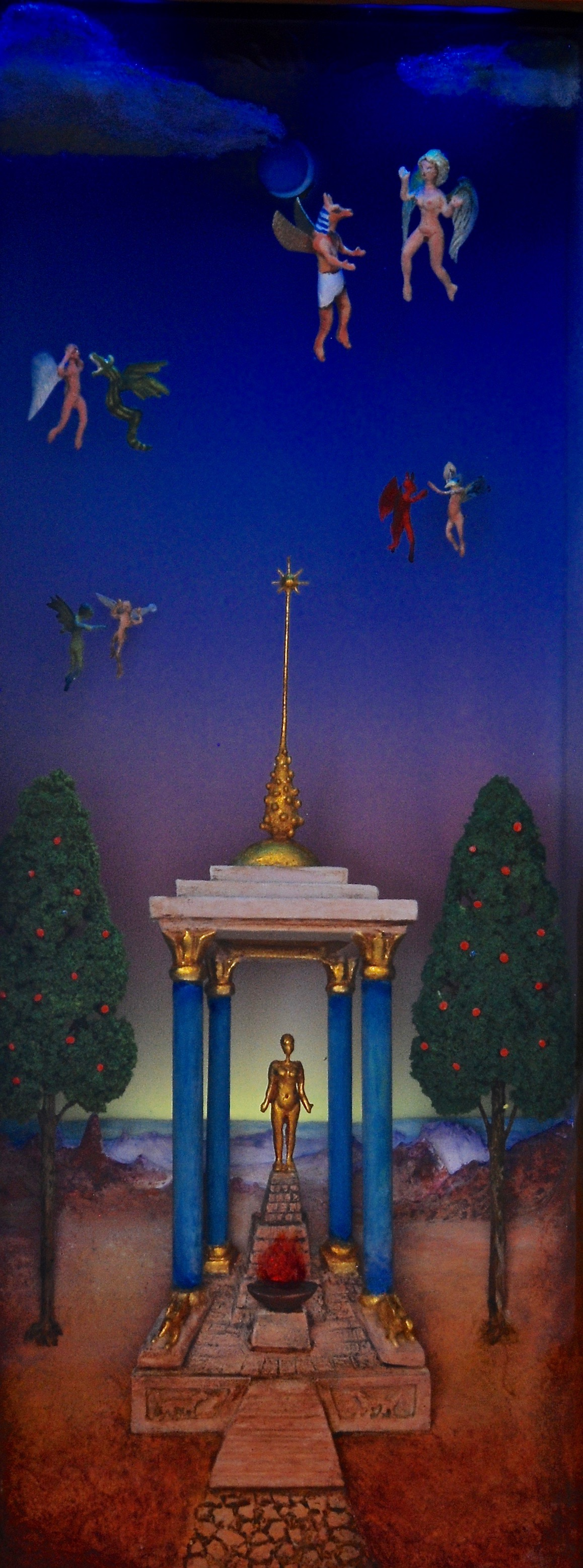 """Thomas Coffin - Conversations at the Temple of Baal, 25""""h x 15""""w x 5 3/4""""d, mixed media 3-d diorama encased in acrylic resin, wood frame, copper leaf (embedded lighting detail)"""