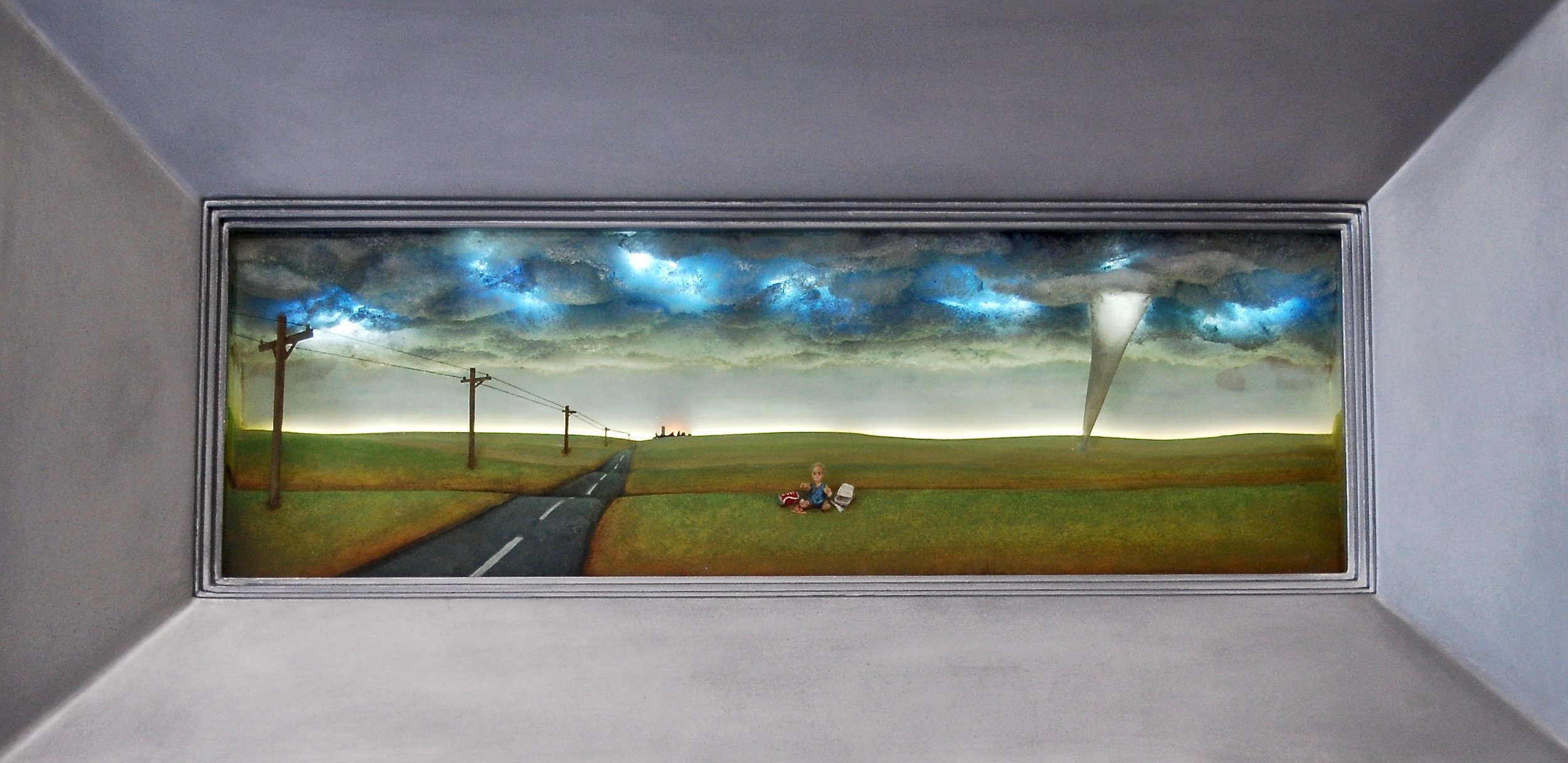 """Thomas Coffin - Last Trip to the Dairy Queen, 16""""h x 32""""w x 5 3/4""""d, mixed media 3-d diorama encased in acrylic resin, wood frame"""