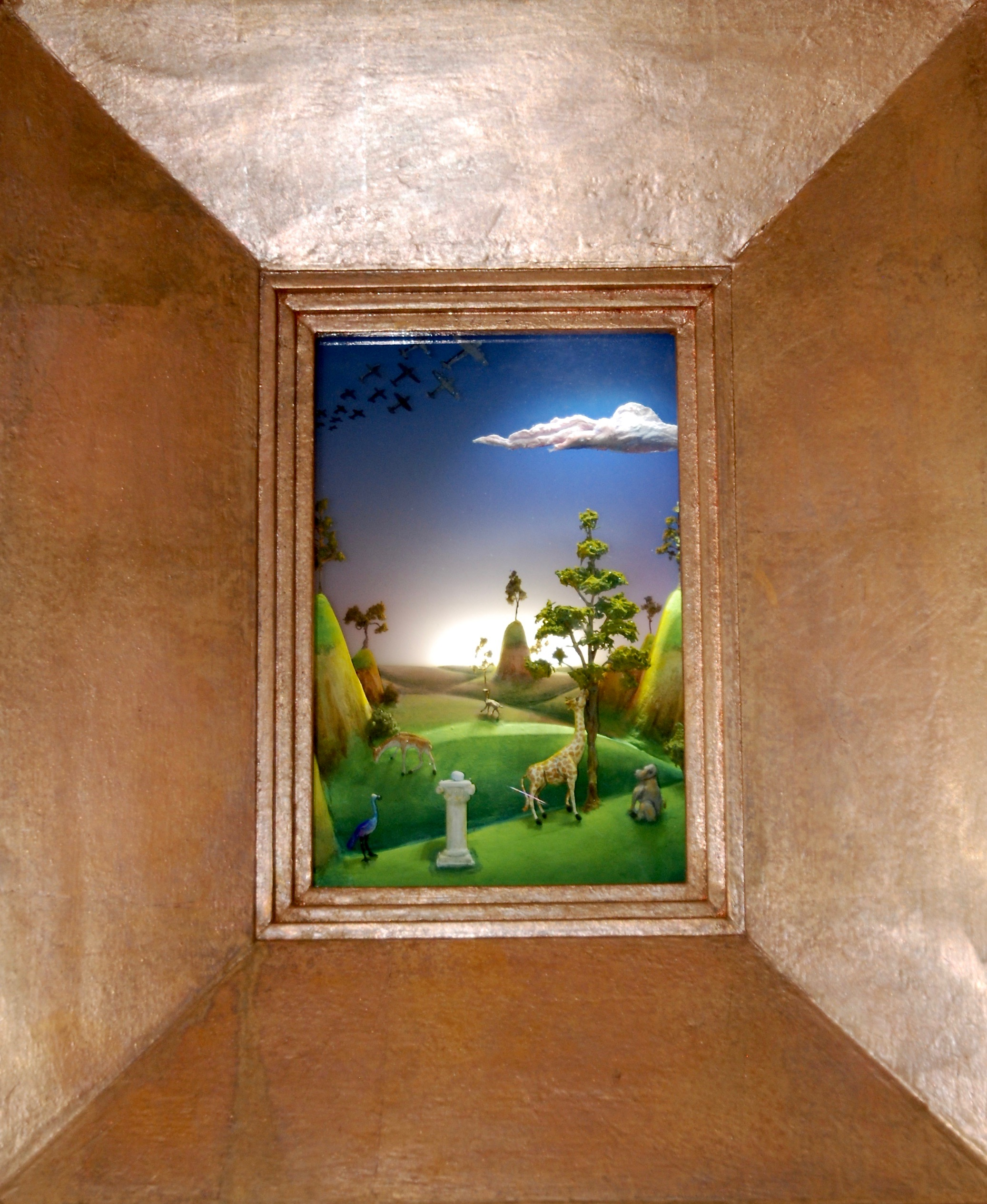 """Thomas Coffin - A Peaceable Kingdom, 20""""h x 16""""w x 5 3/4""""d, mixed media 3-d diorama encased in acrylic resin, wood frame, copper leaf"""
