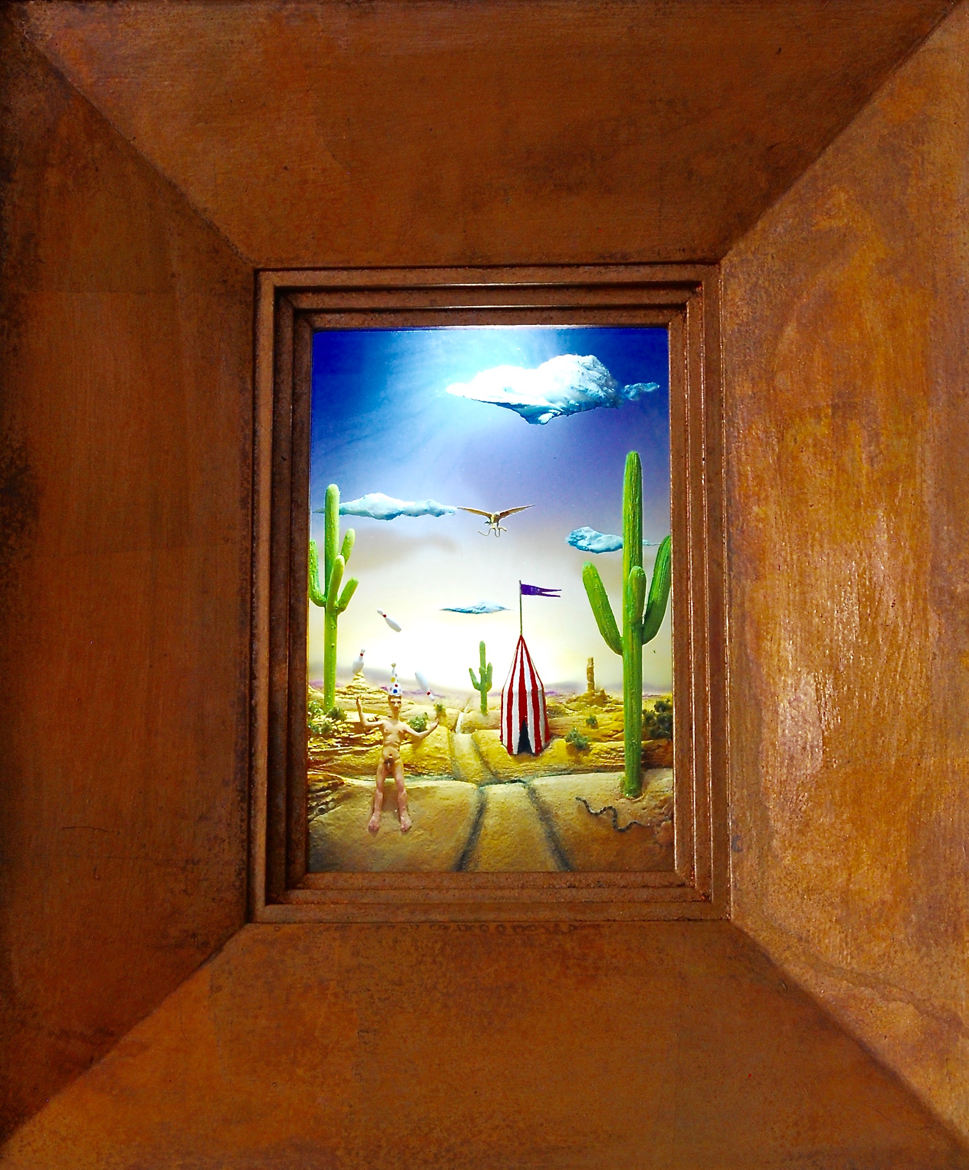 """Thomas Coffin - A Tenuous Existence, 20""""h x 16""""w x 5 3/4""""d, mixed media diorama encased in acrylic resin, wood frame, copper leaf"""