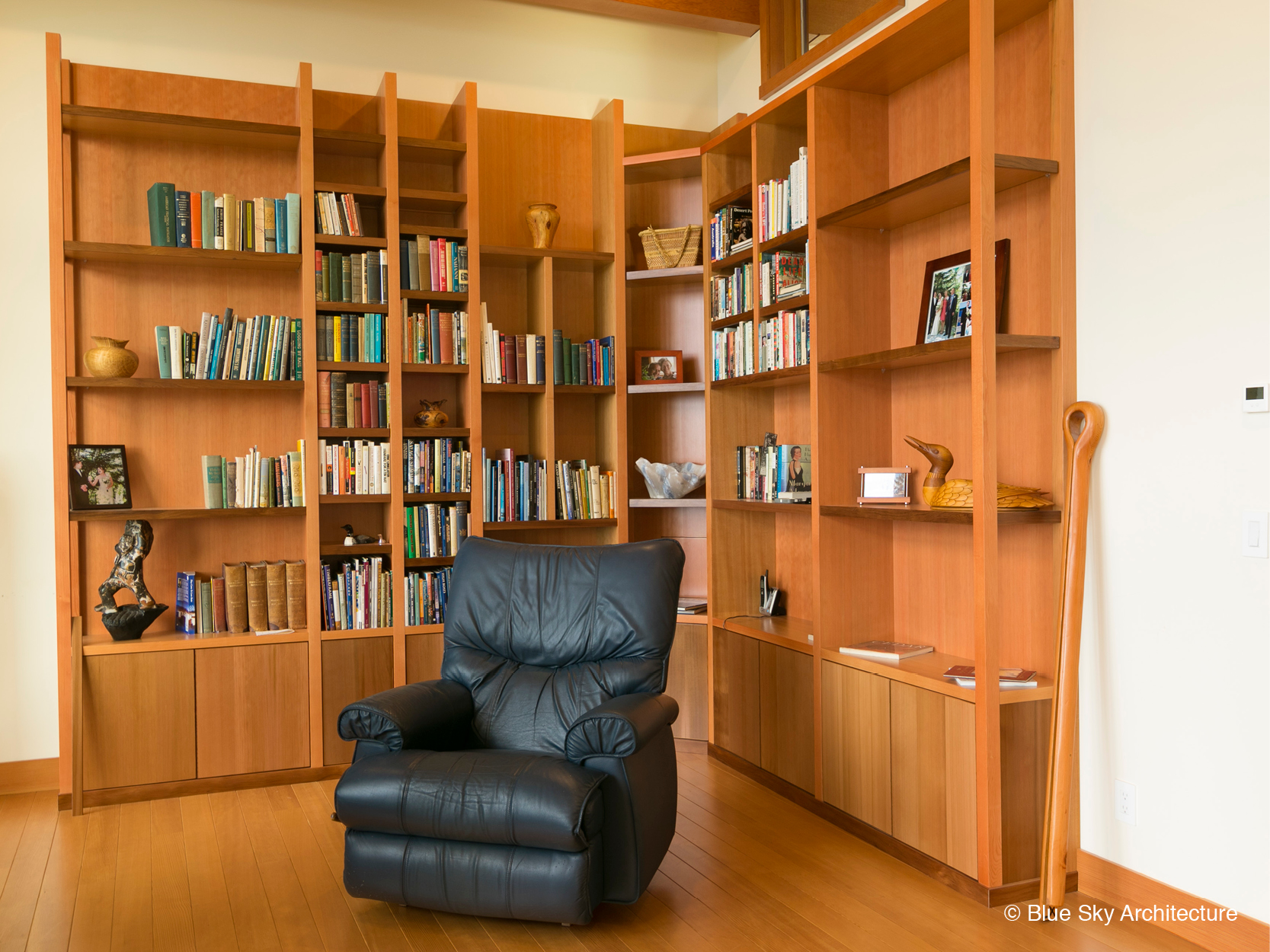 Douglas fir bookshelves in West Coast Modern residence