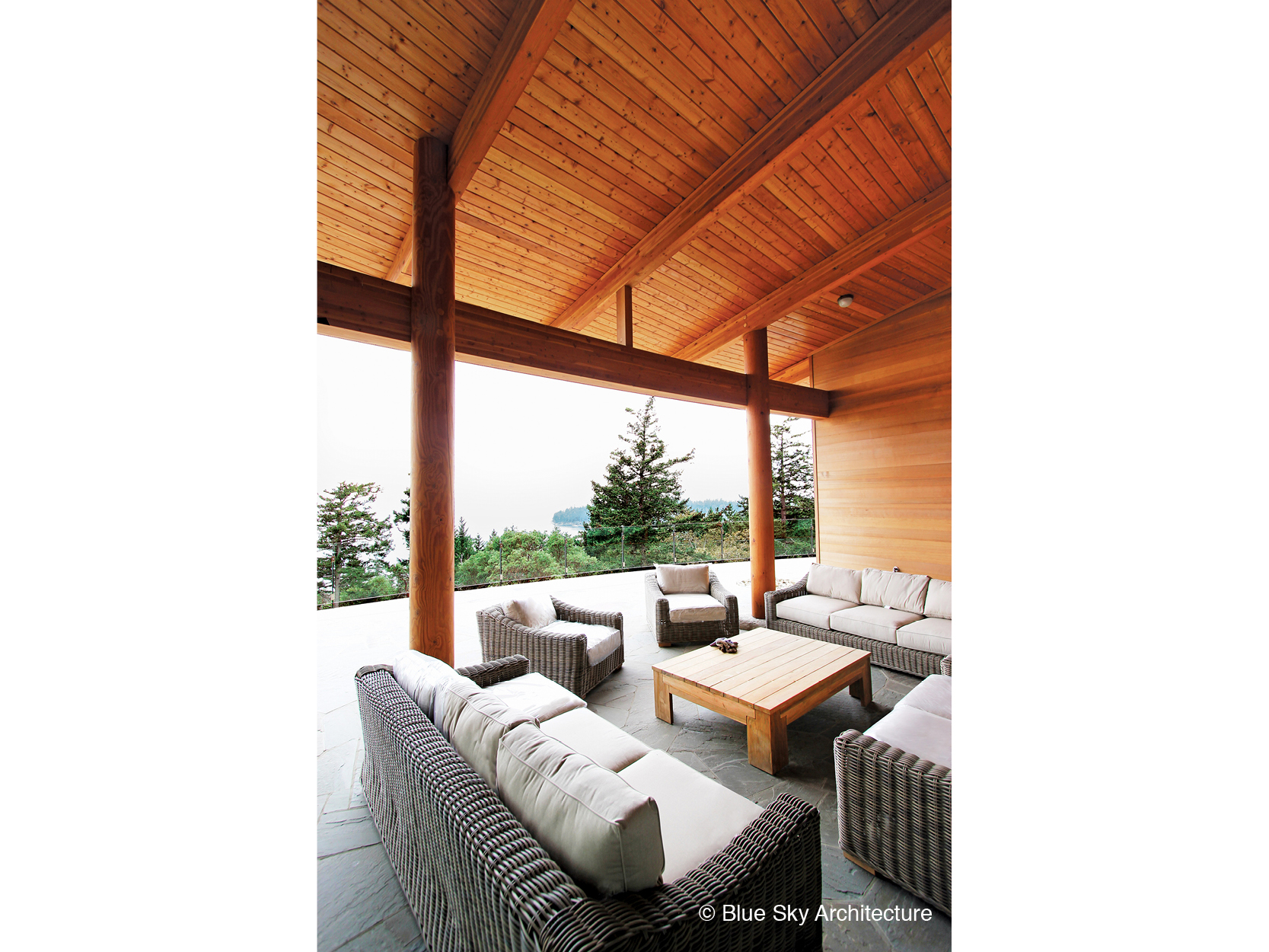 Outdoor patio living room in off-grid home
