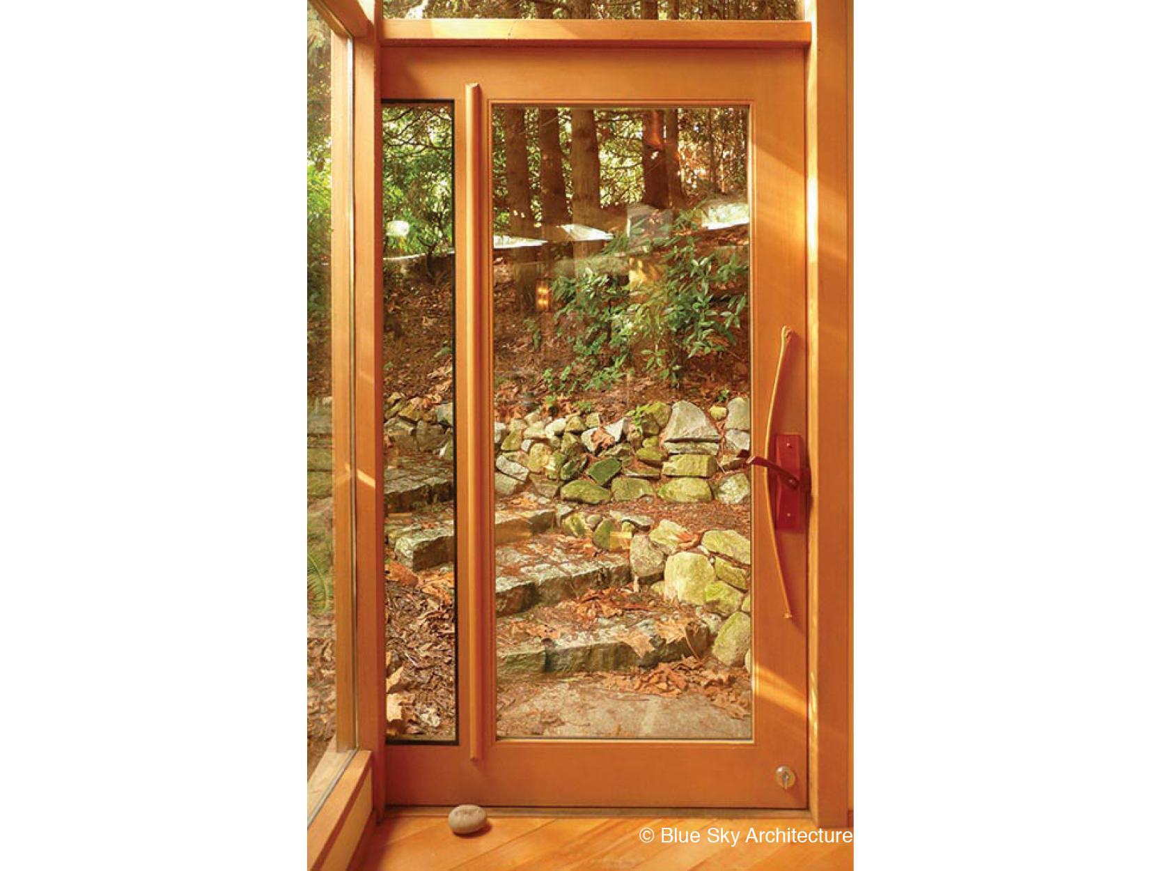 Entry Door with Custom Woodwork Latch