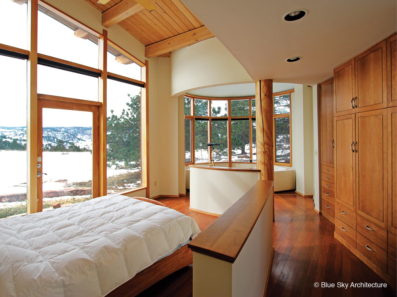 Bedroom Design with Natural Log Column
