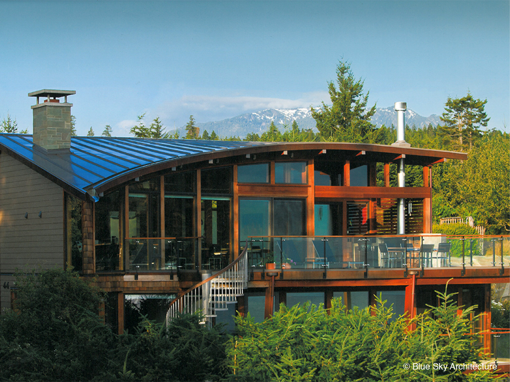 Exterior of Custom Residence with Organic Roofline