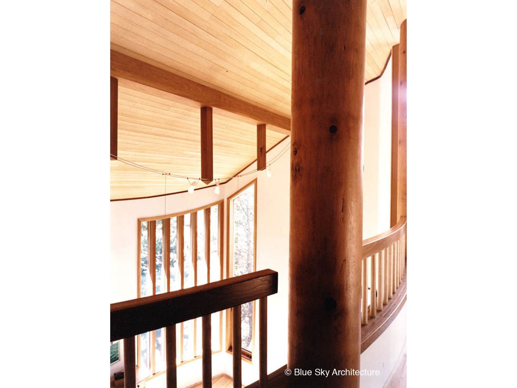 Heavy Timber Mezzanine with Fir Ceiling