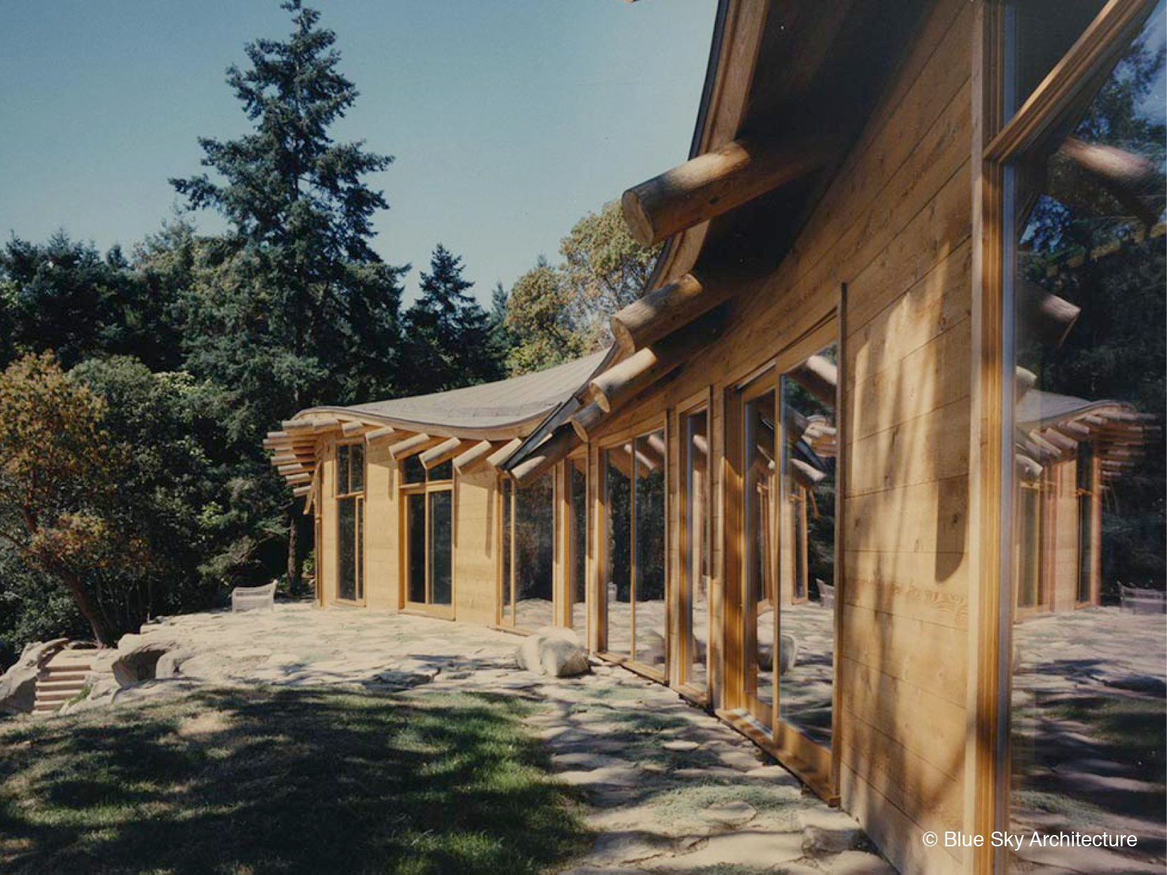 Heavy Timber Construction with Natural Log Rafters