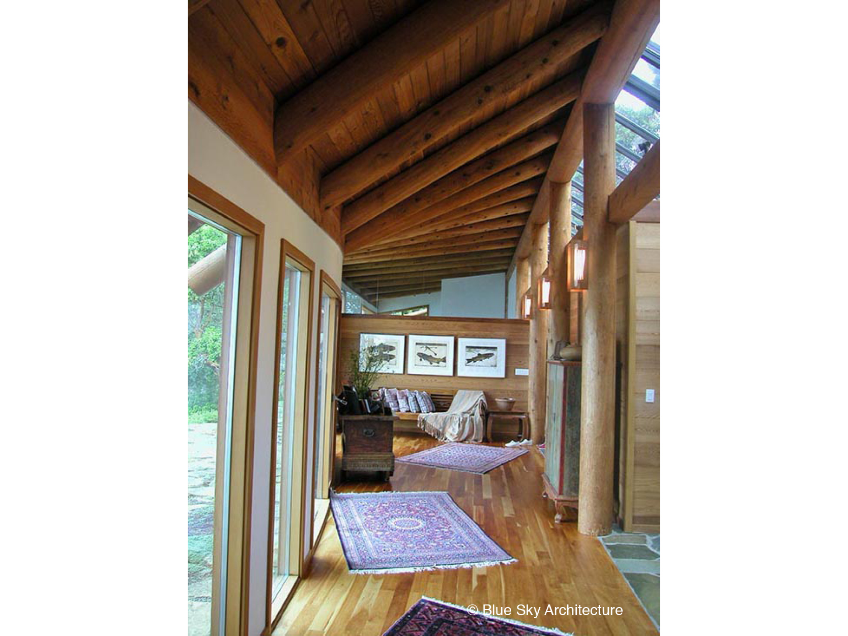 Hallways with Natural Log Rafters
