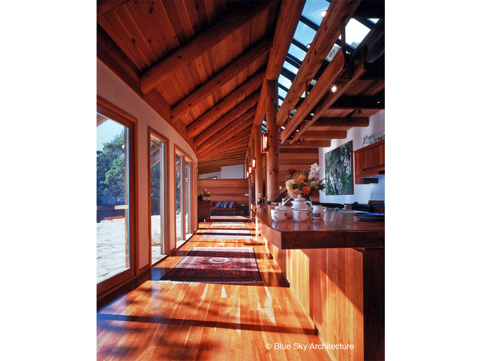 Organic Rafters with Natural Wood Slab Counter
