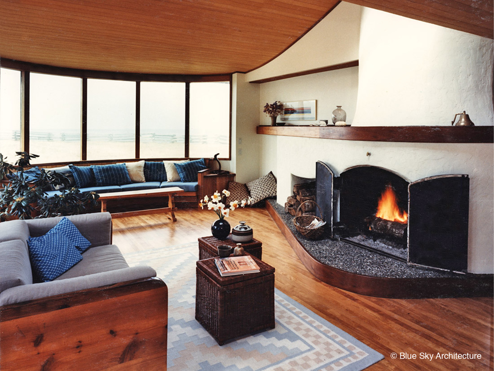 Interior Design with Custom Fireplace and Natural Materials
