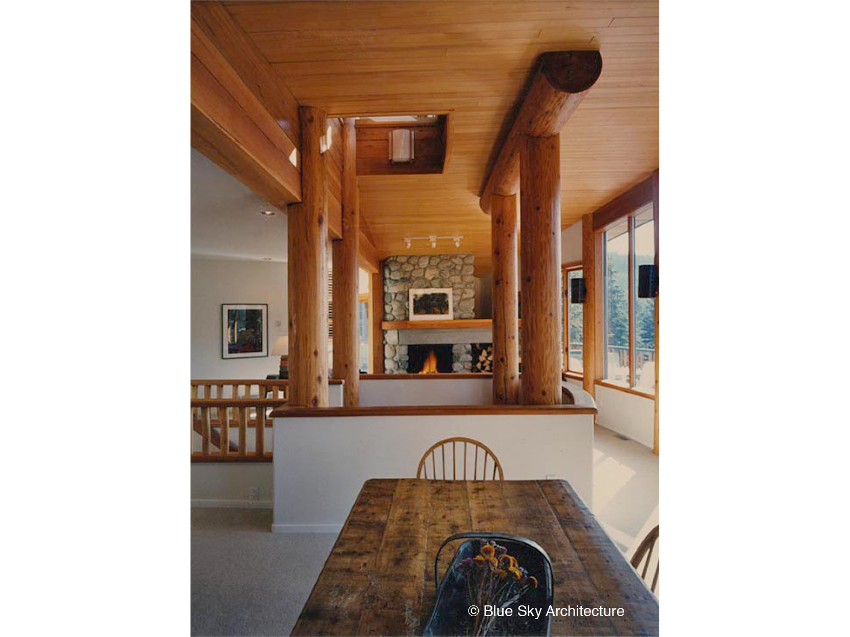 Custom Dining Room with Post and Beam Design