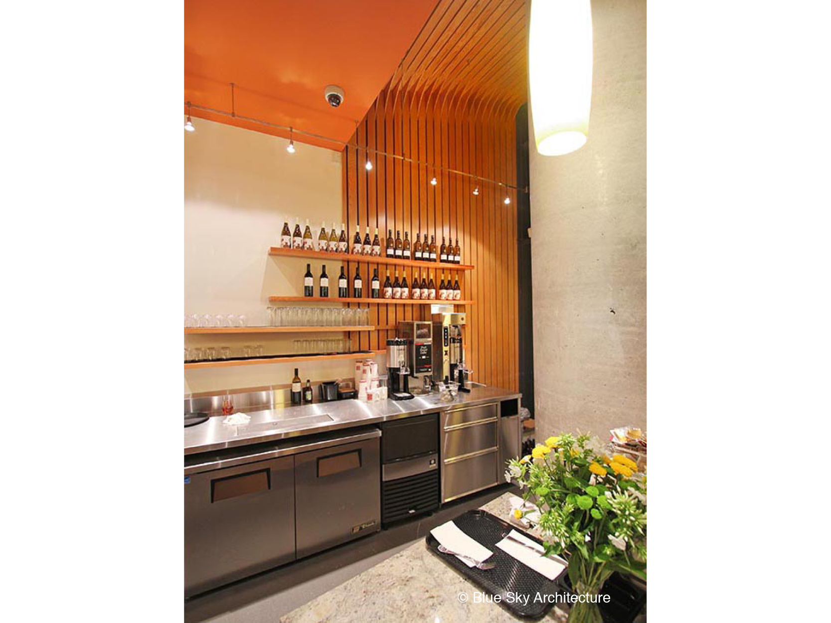 wine bar with commercial kitchen
