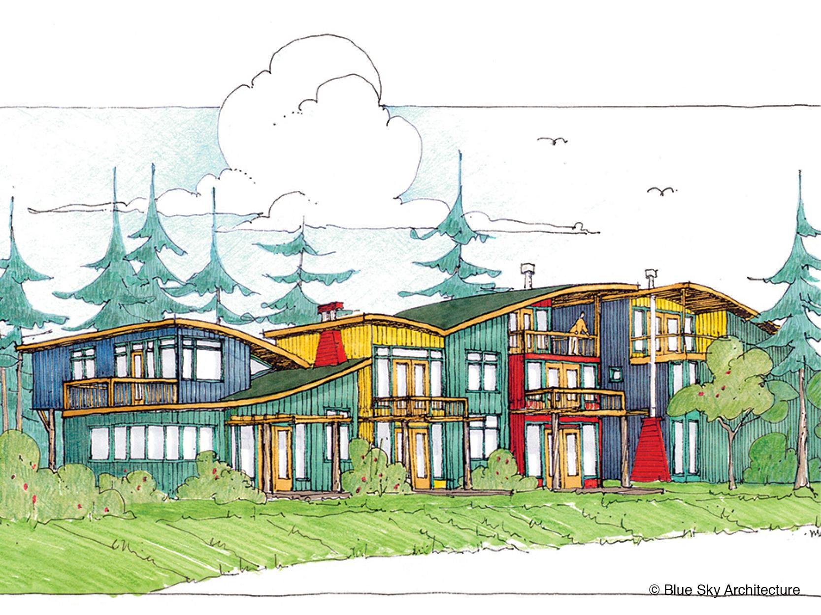 Perspective rendering of custom beach home