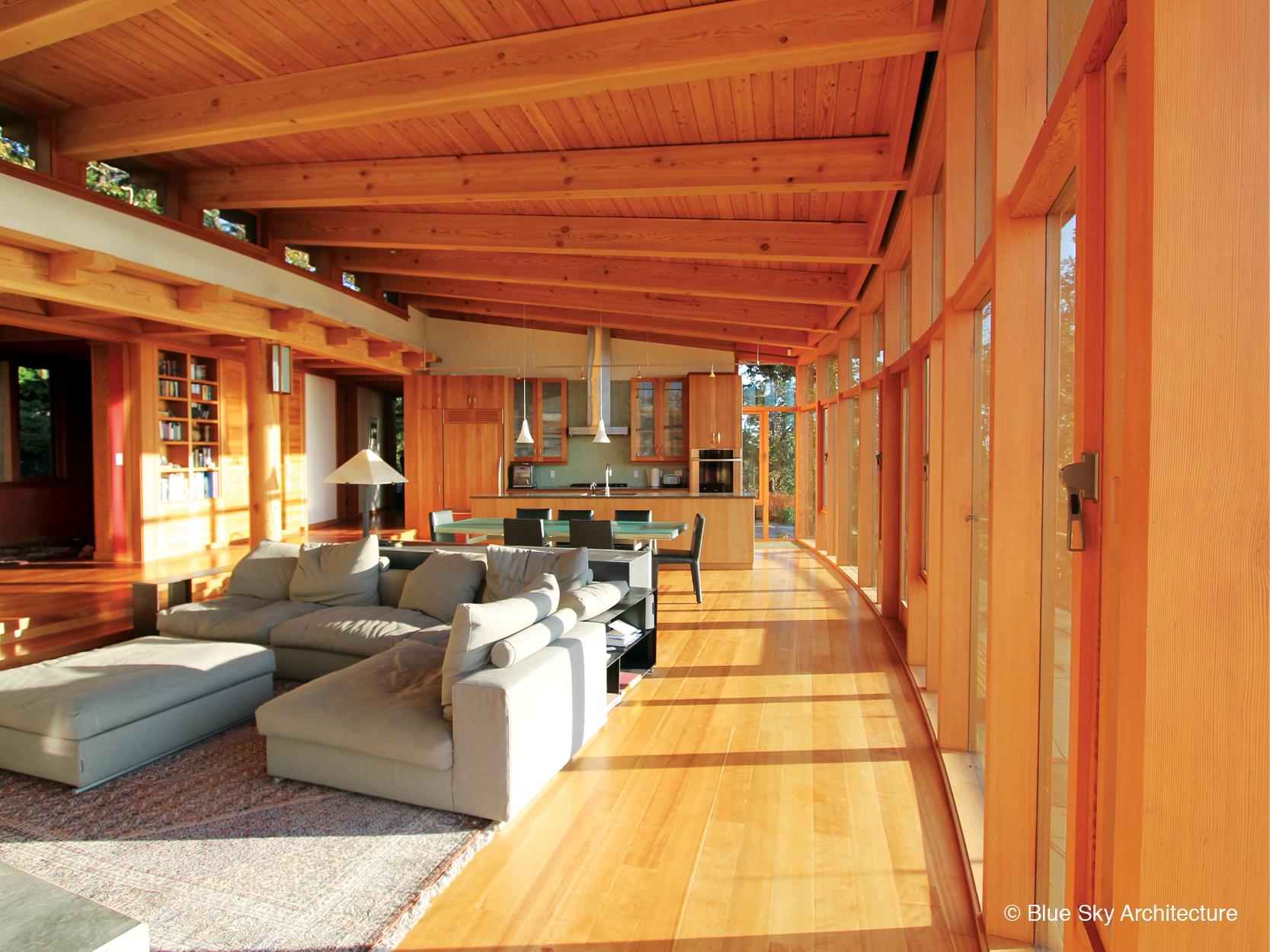 Oak Grove House's heavy timber living room