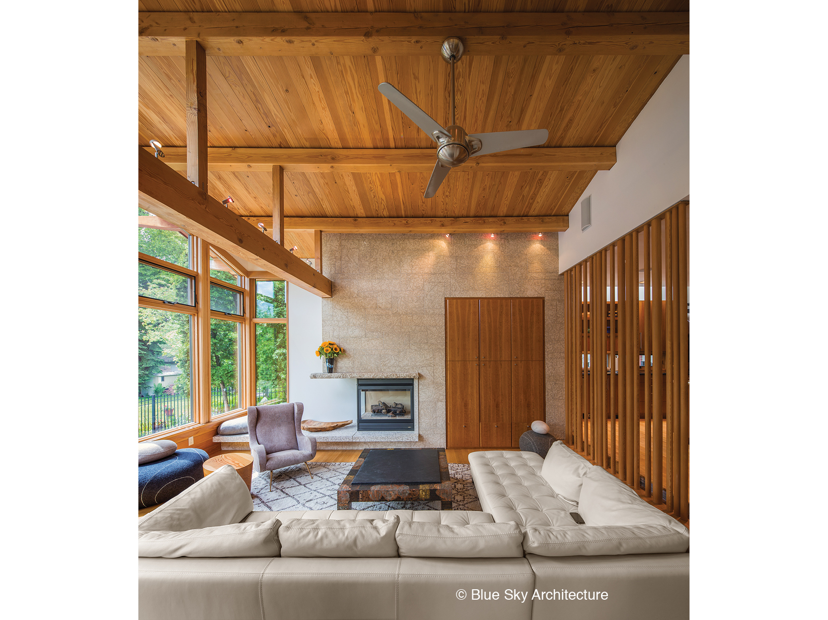 Post and beam framing in the Assiniboine River house living room