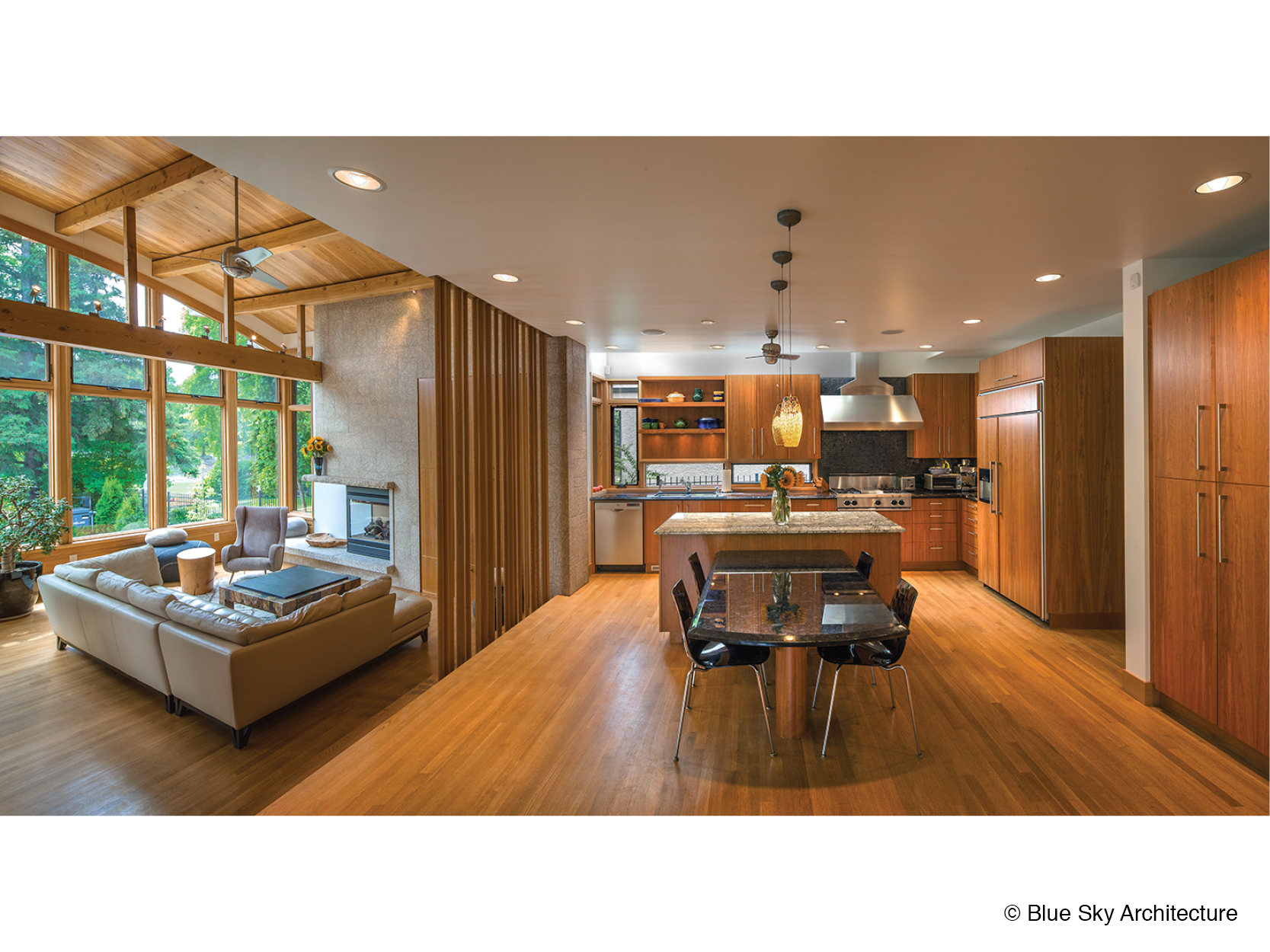 All natural materials kitchen and living room